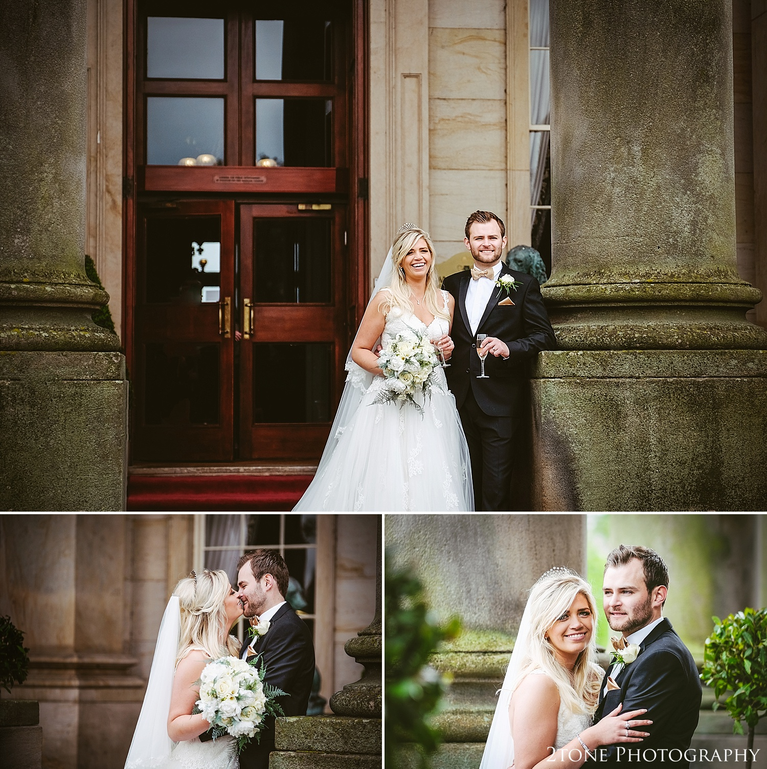 The Bride and Groom at Wynyard Hall.  Wynyard Hall wedding photography by www.2tonephotography.co.uk