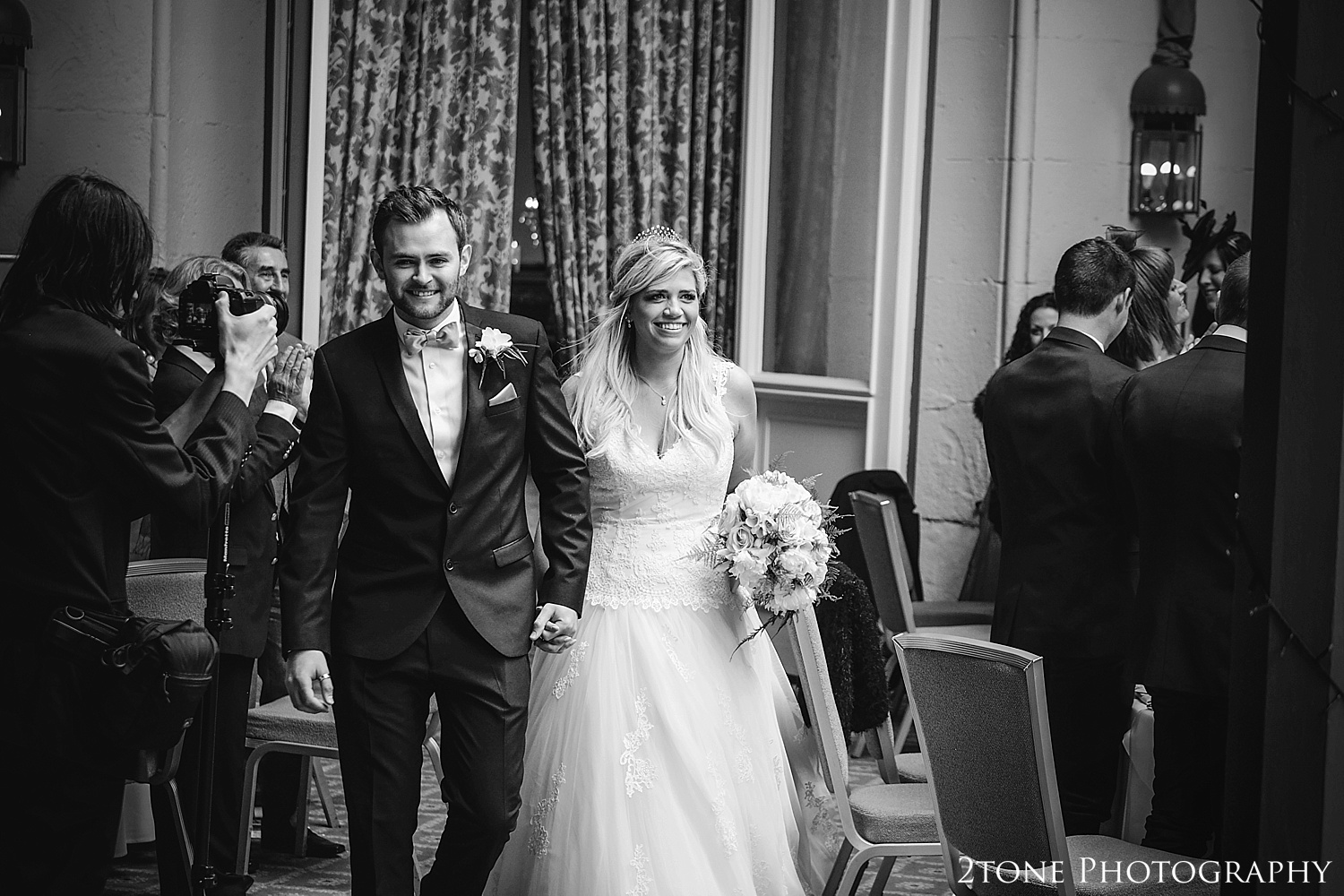 Arrival of the Bride and Groom.  Wynyard Hall wedding photography by www.2tonephotography.co.uk