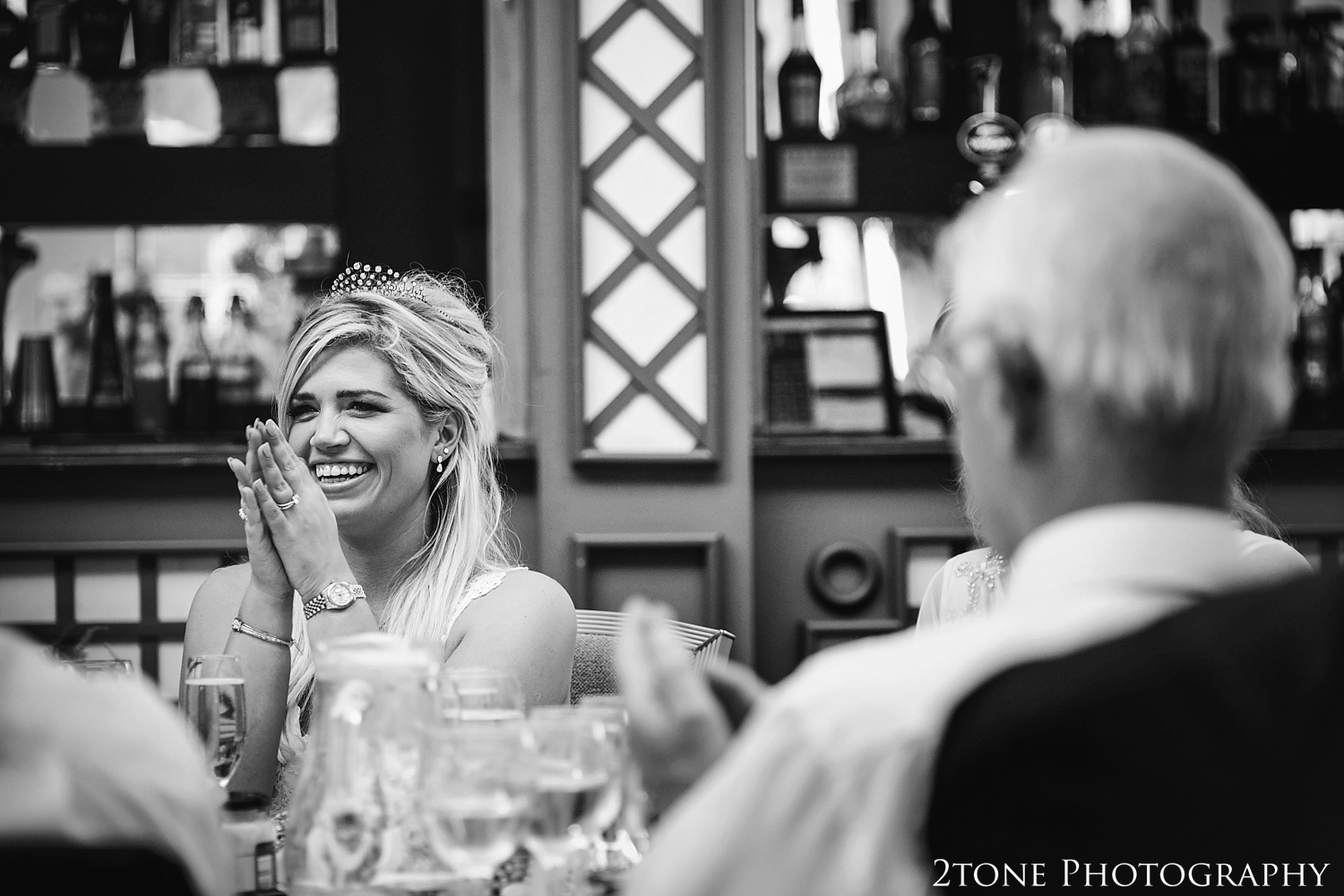 Bride laughing.  Wynyard Hall wedding photography by www.2tonephotography.co.uk