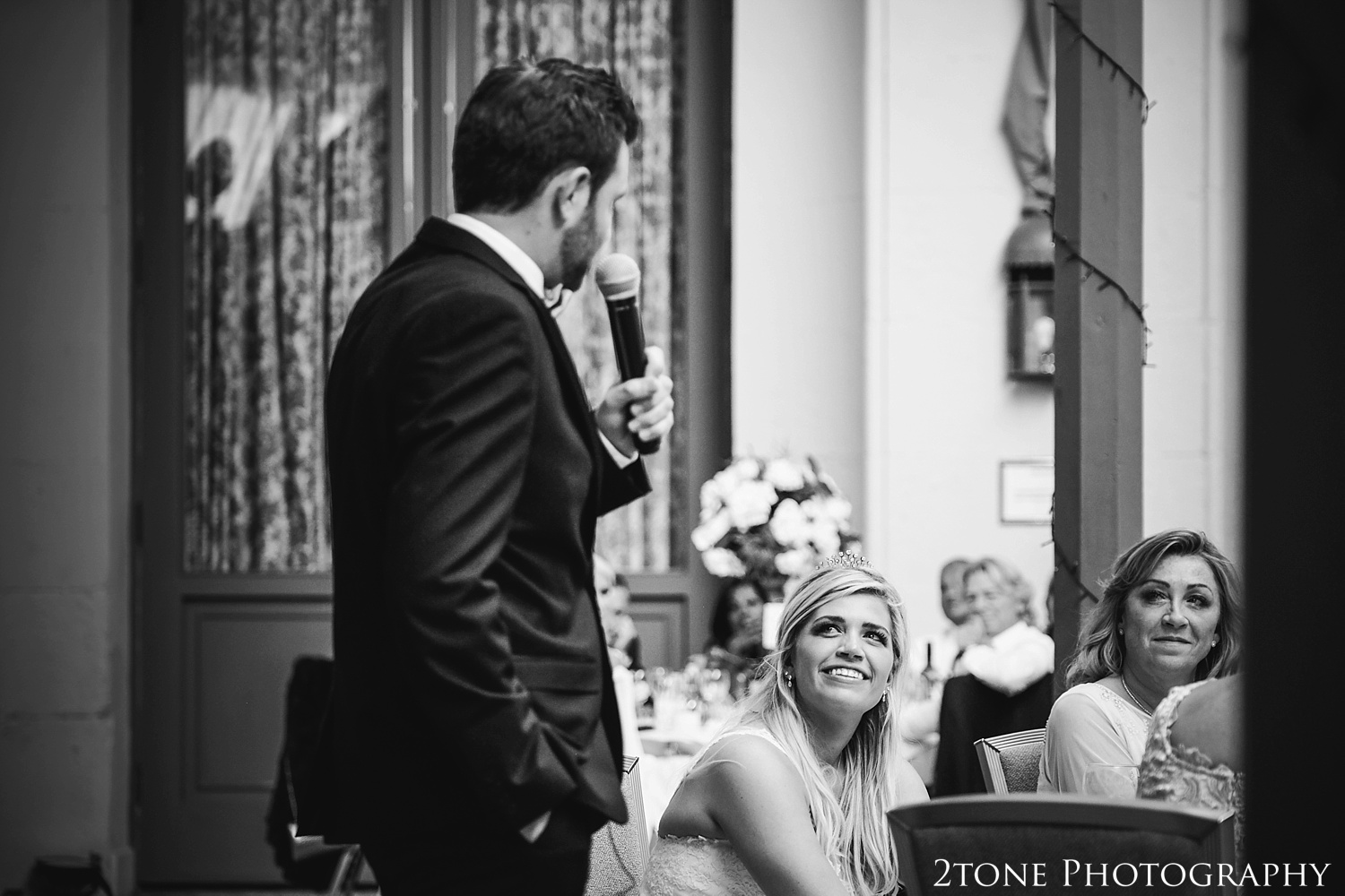 Wedding day speeches.  Wynyard Hall wedding photography by www.2tonephotography.co.uk
