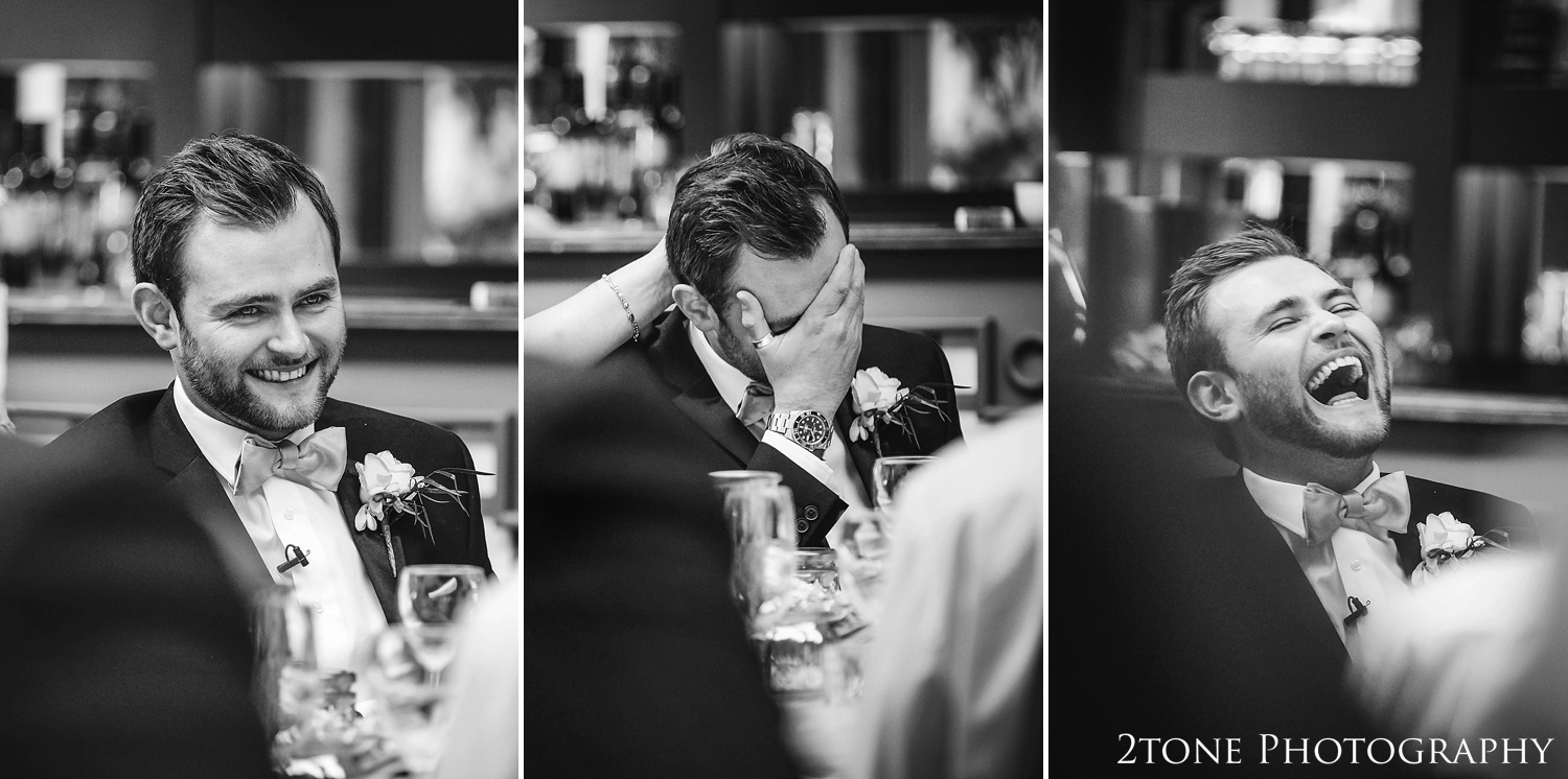 Groom laughing.  Wynyard Hall wedding photography by www.2tonephotography.co.uk