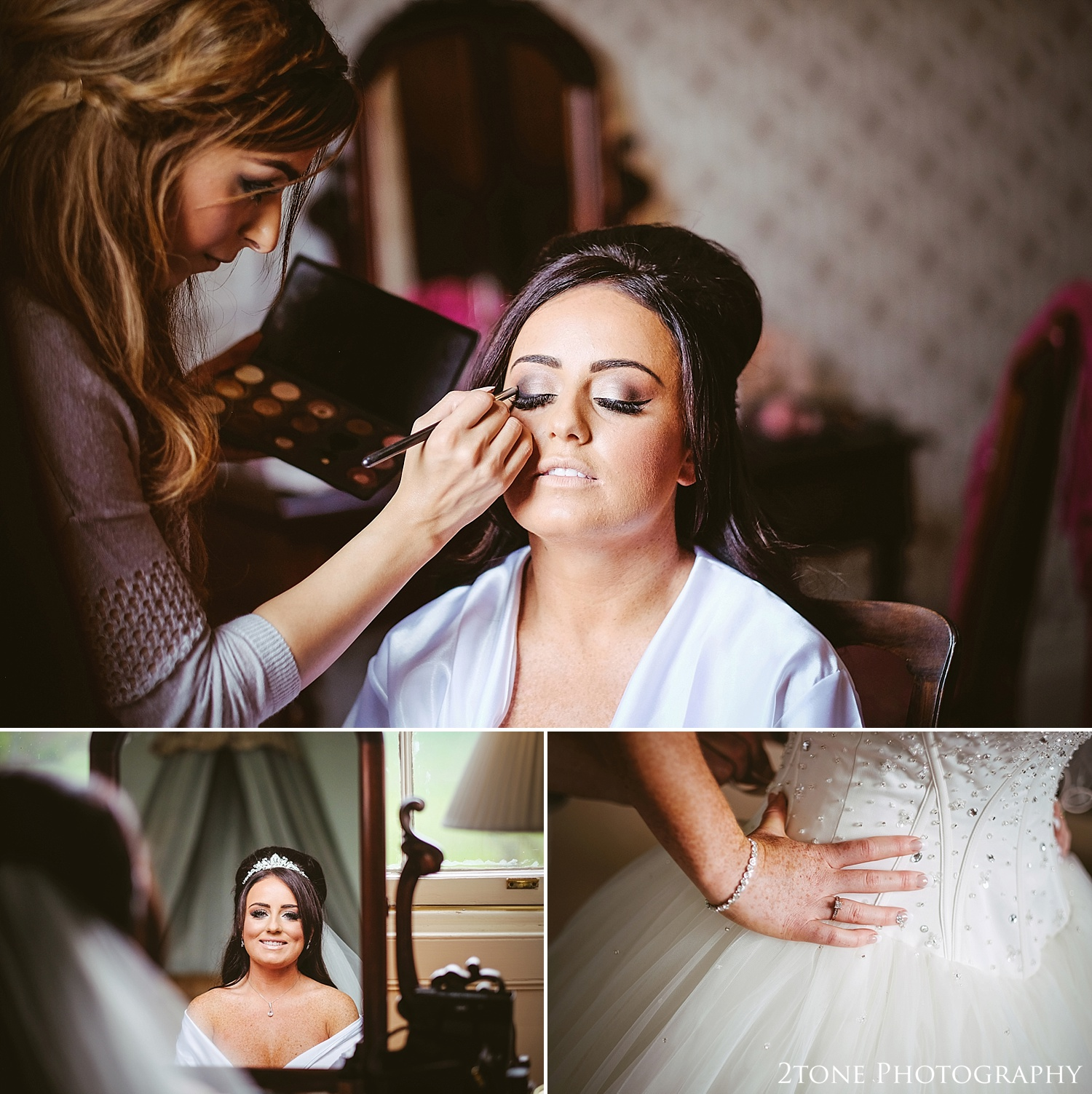 Bride getting ready.  Wynyard Hall by Newcastle and Durham based Wedding Photographer www.2tonephotography.co.uk
