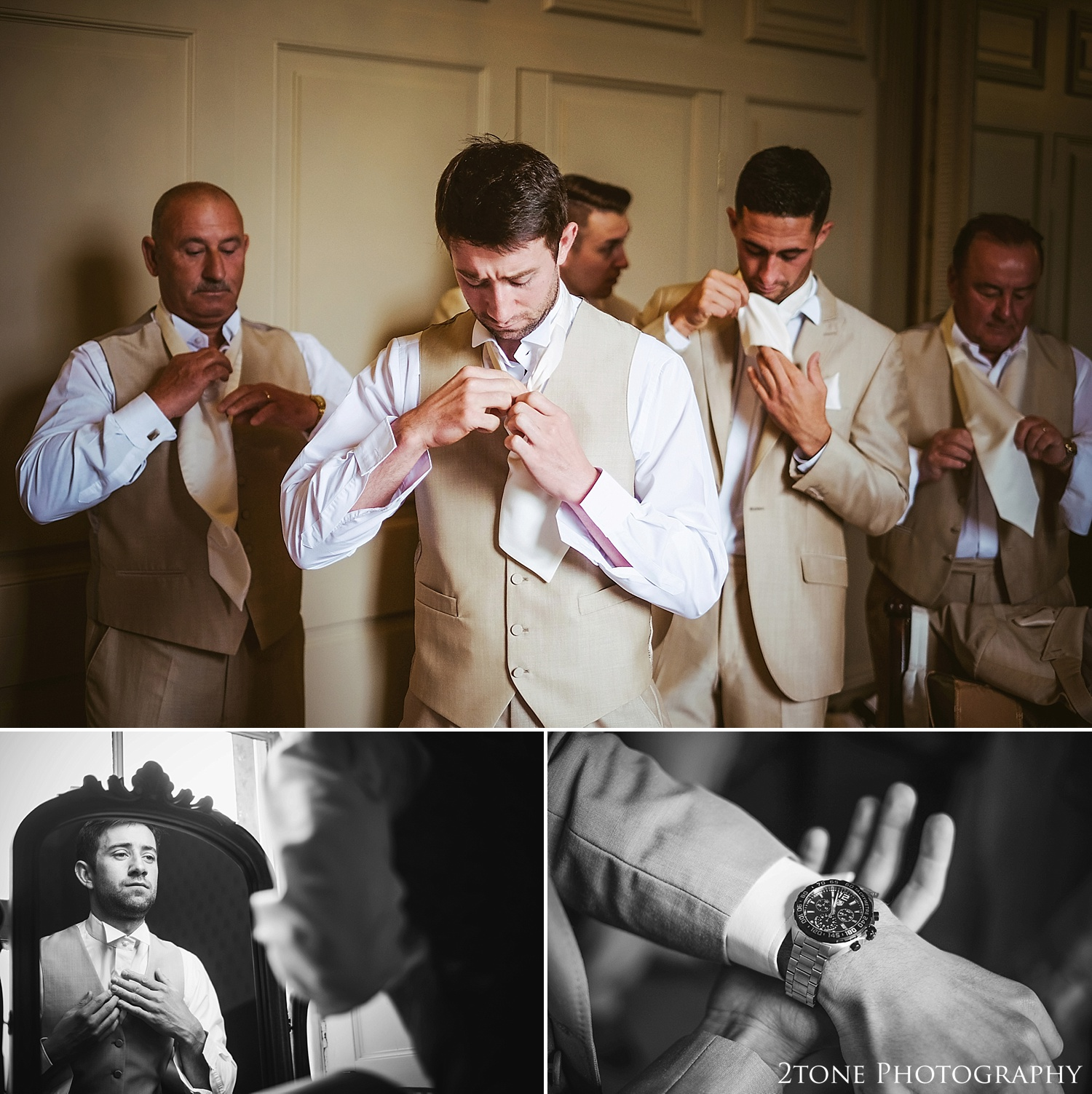 Grooms preparations at Wynyard Hall by Newcastle and Durham based Wedding Photographer www.2tonephotography.co.uk