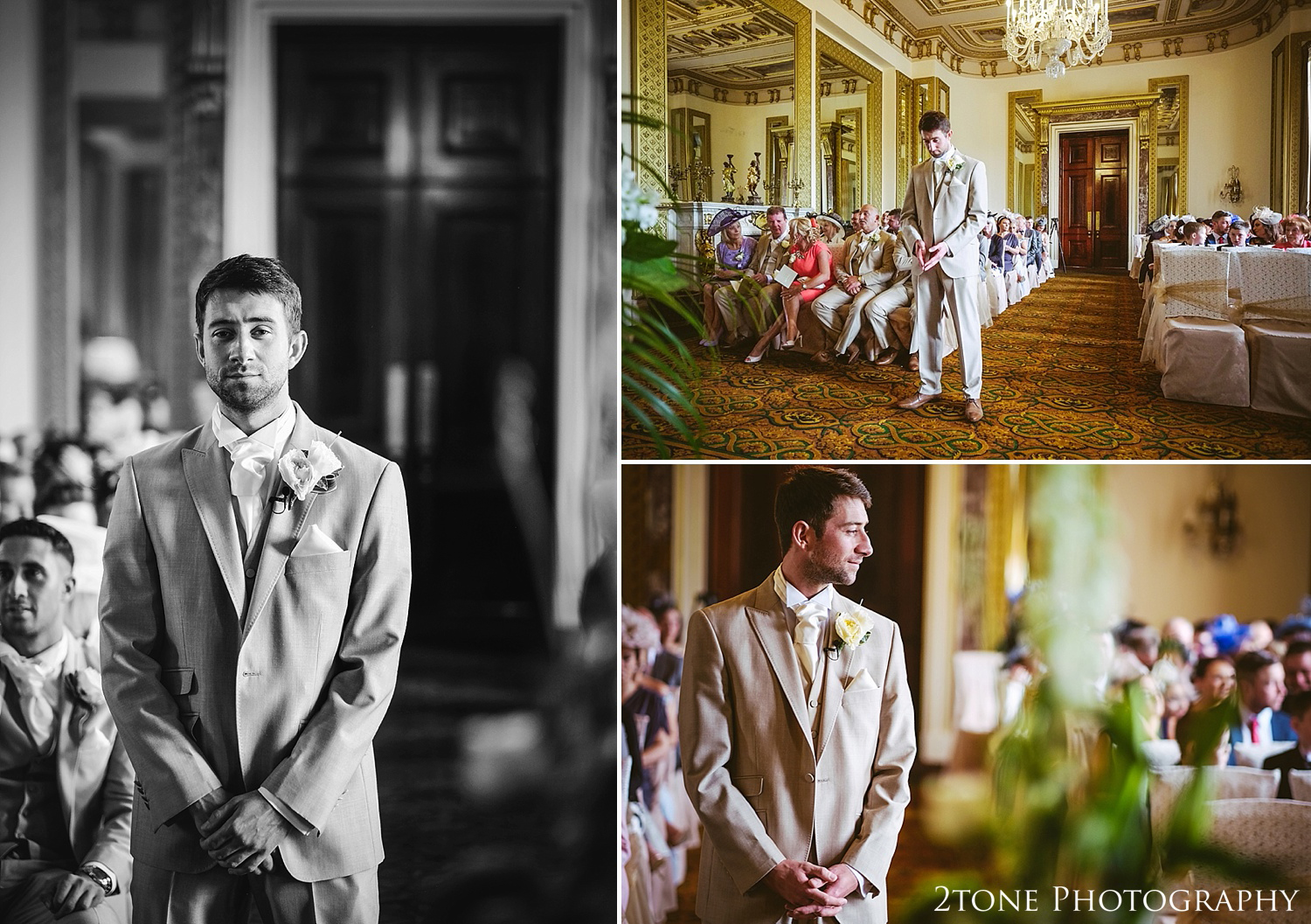 The groom waiting for the bride at Wynyard Hall by Newcastle and Durham based Wedding Photographer www.2tonephotography.co.uk