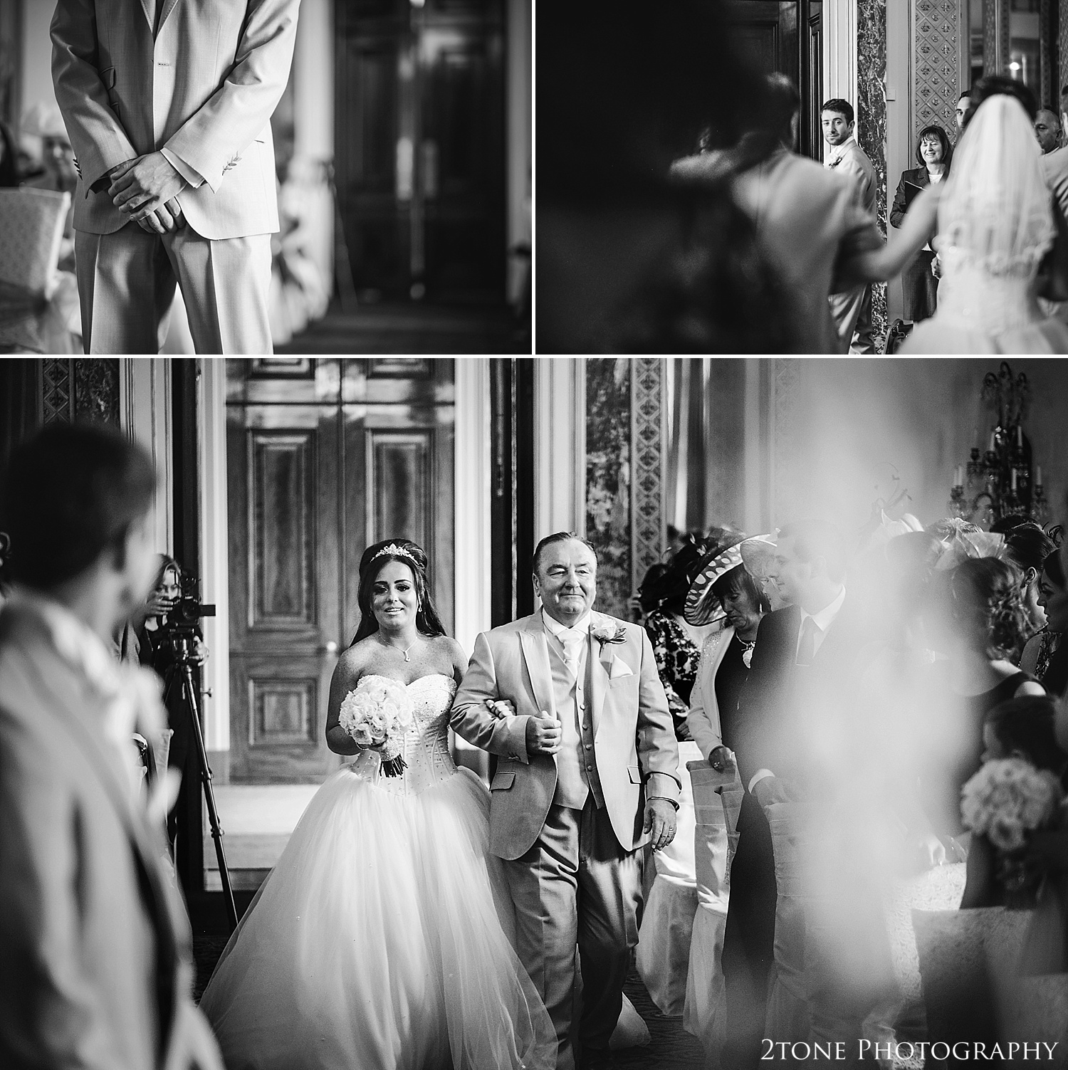 The arrival of the bride in the mirror room at Wynyard Hall by Newcastle and Durham based Wedding Photographer www.2tonephotography.co.uk