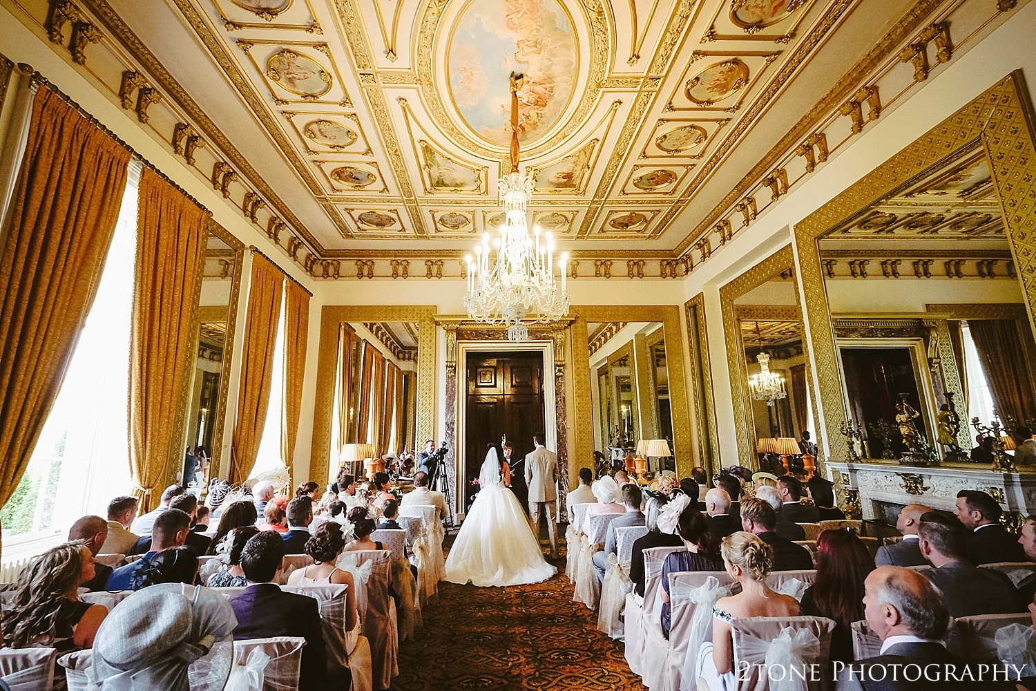 The mirror room wedding ceremony at Wynyard Hall by Newcastle and Durham based Wedding Photographer www.2tonephotography.co.uk