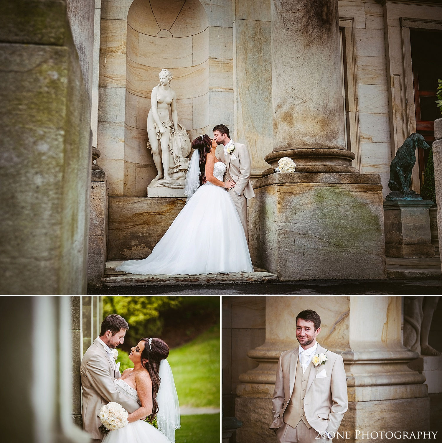 Romantic wedding photos at Wynyard Hall by Newcastle and Durham based Wedding Photographer www.2tonephotography.co.uk