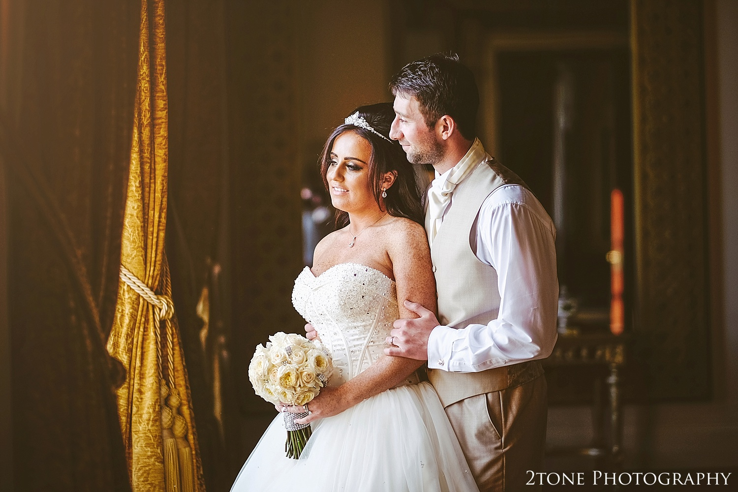 Bride and Groom in the Mirror room in Wynyard Hall by Newcastle and Durham based Wedding Photographer www.2tonephotography.co.uk