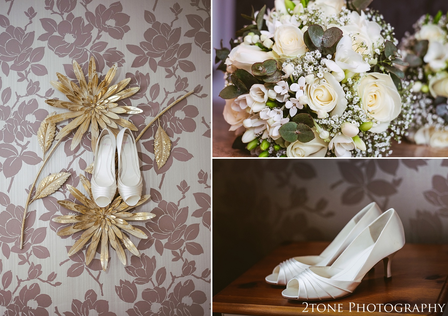 Wedding shoes and flowers by www.2tonephotography.co.uk