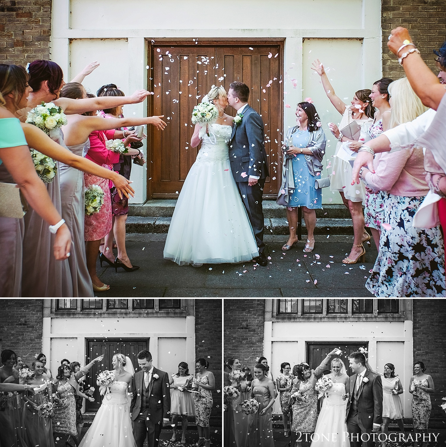 Wedding confetti at St Cuthberts Seaham, wedding photography by www.2tonephotography.co.uk