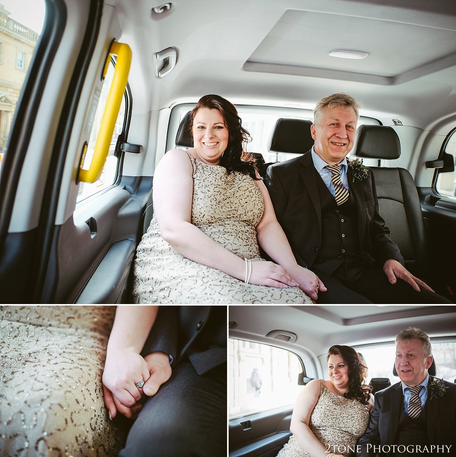 Wedding, bride and groom travel by taxi to their wedding reception in Edinburgh.  Photography by 2tone Photography