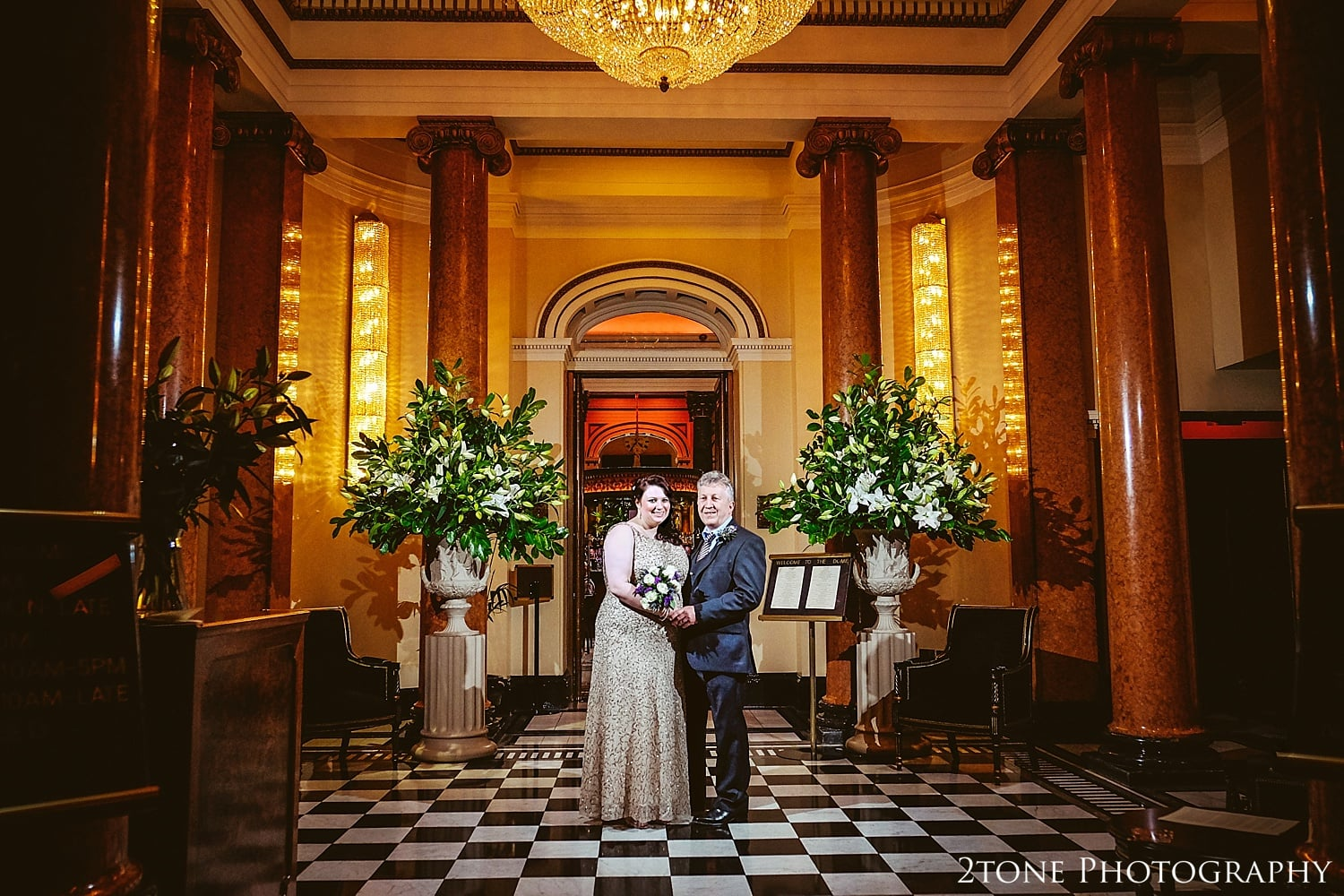 Gorgeous couple at the Dome in Edinburgh.  Photography by 2tone Photography