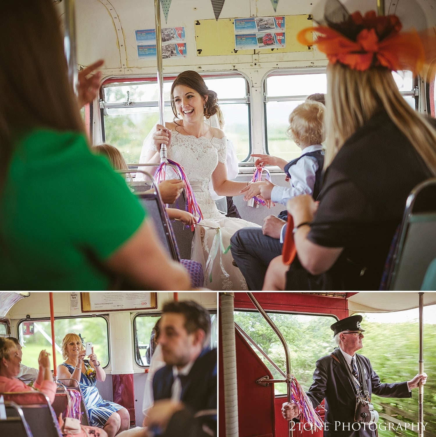 Wedding photographs on the bus by 2tone Photography www.2tonephotography.co.uk