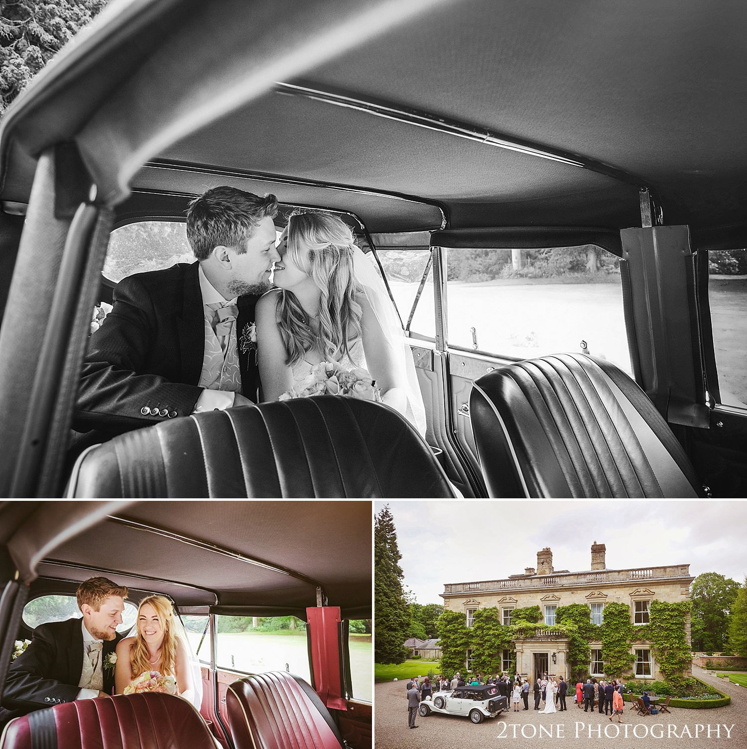 The bride and groom in the wedding car by www.2tonephotograhy.co.uk