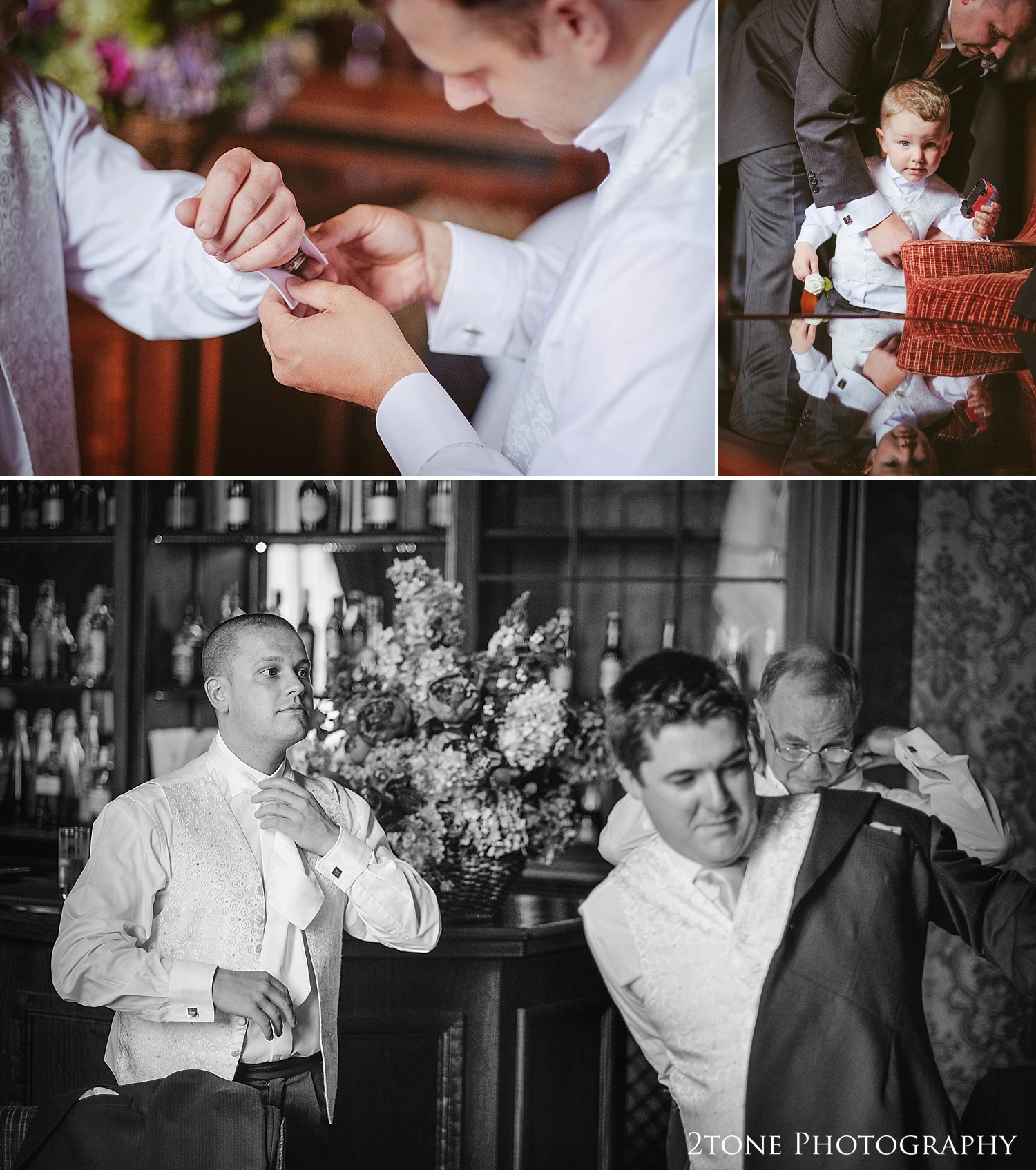 Groom getting ready.  Wedding Photography at Wynyard Hall by 2tone Photography www.2tonephotography.co.uk