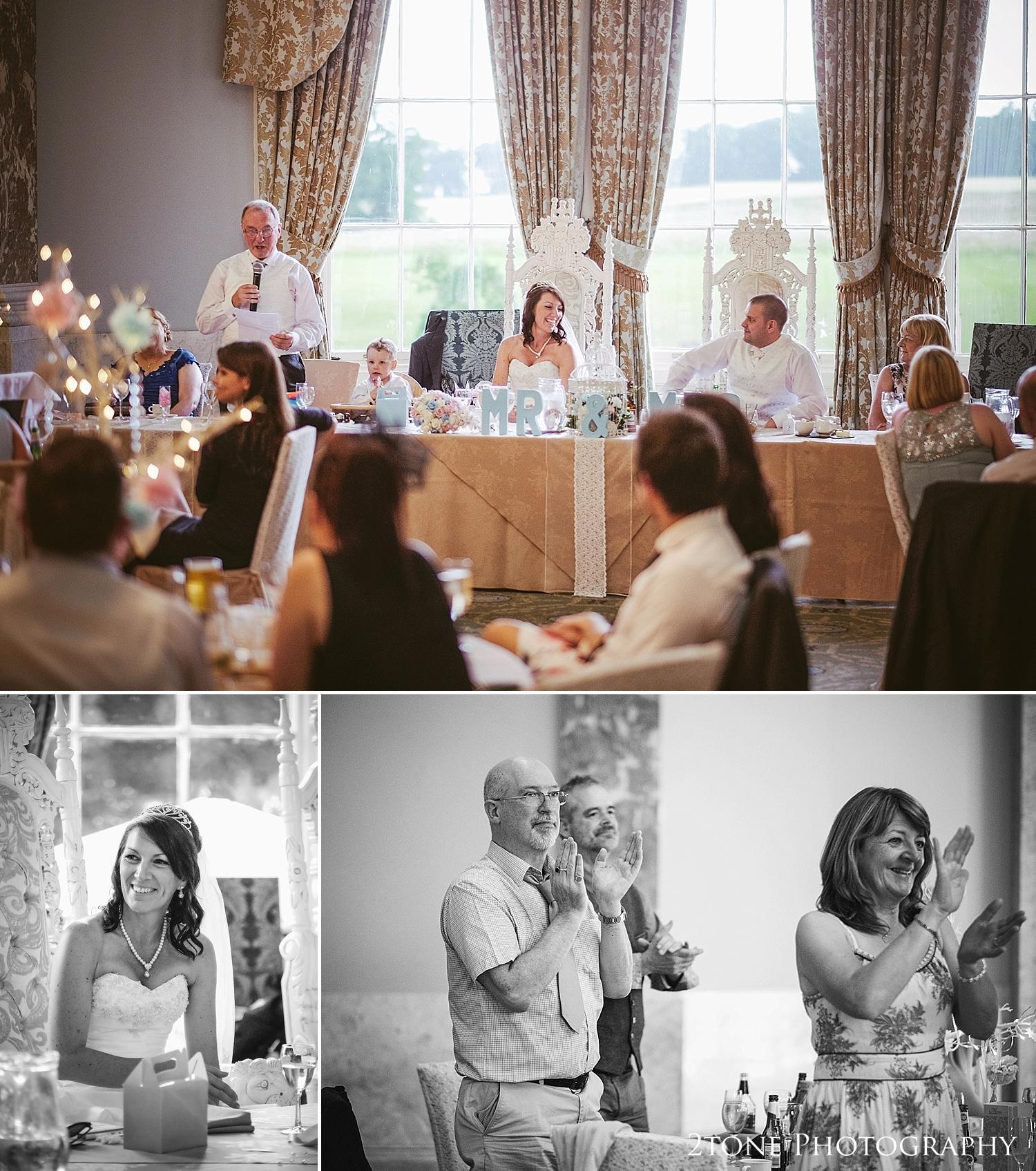 The speeches.  Wedding Photography at Wynyard Hall by 2tone Photography www.2tonephotography.co.uk