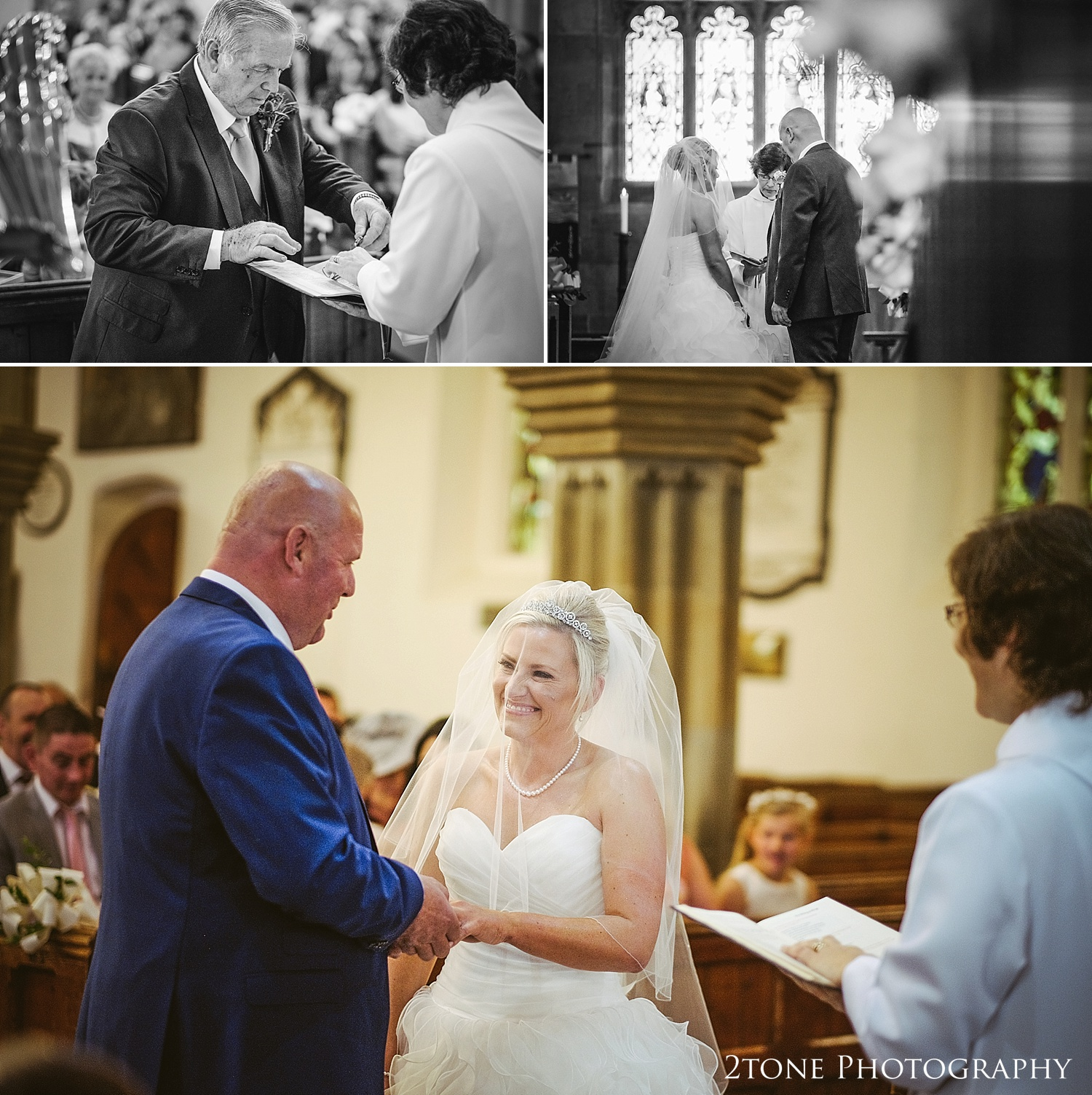 Wedding vows in St Michael's in Alnwick by Newcastle and Durham based wedding photographers www.2tonephotography.co.uk