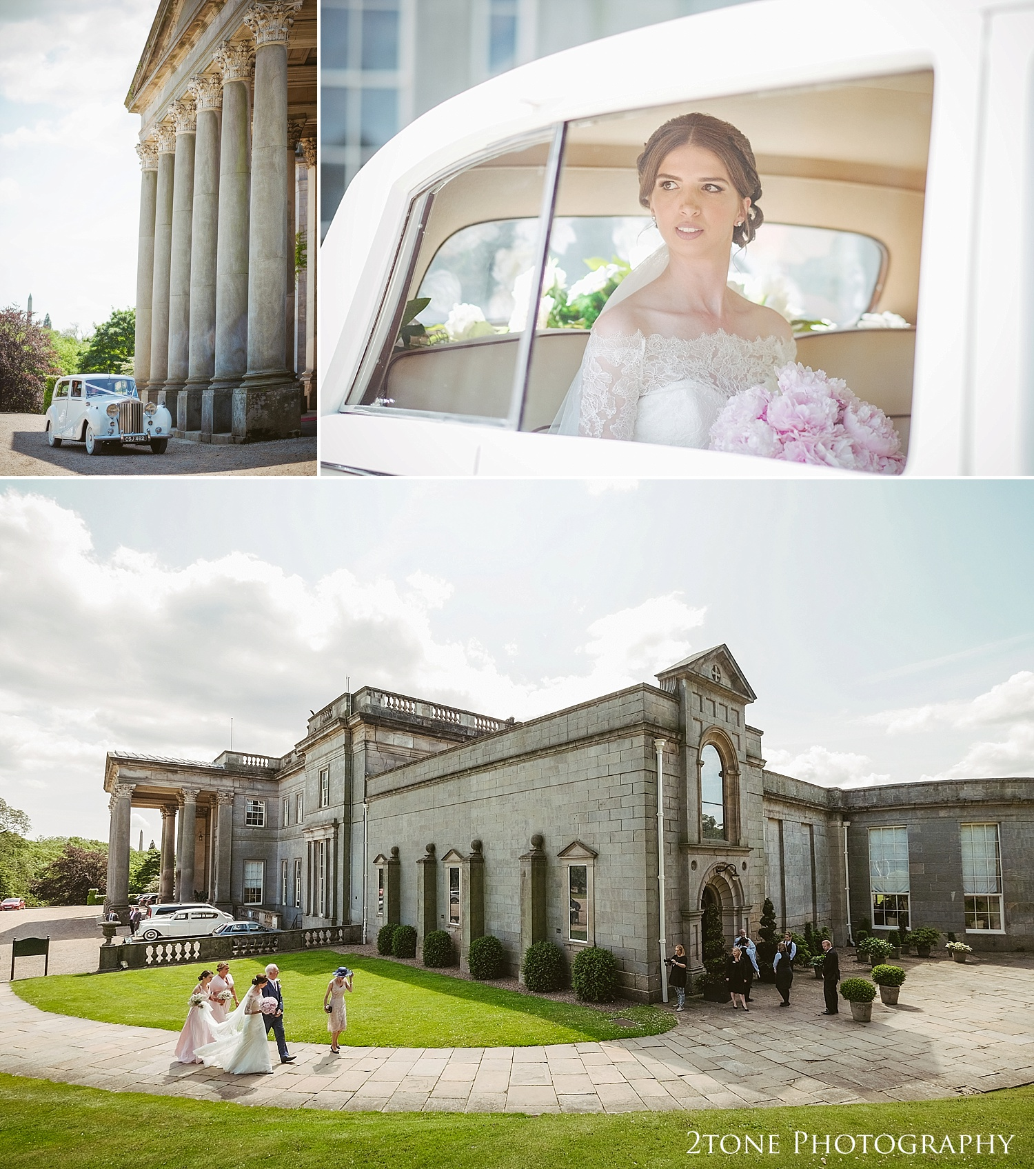 The bride arriving to Wynyard Hall by Durham based wedding photographers www.2tonephotography.co.uk