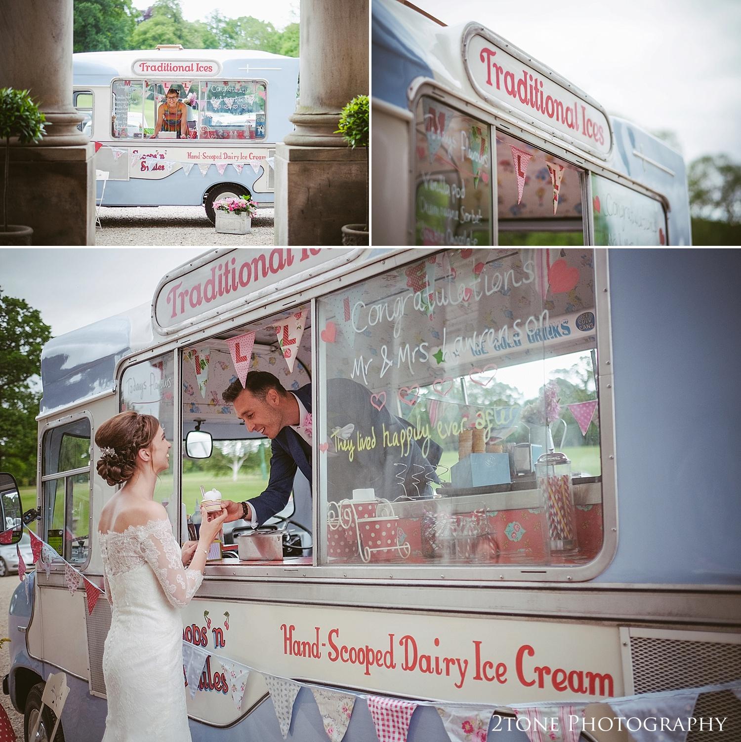 Ice Cream wedding van at Wynyard Hall by Durham based wedding photographers www.2tonephotography.co.uk