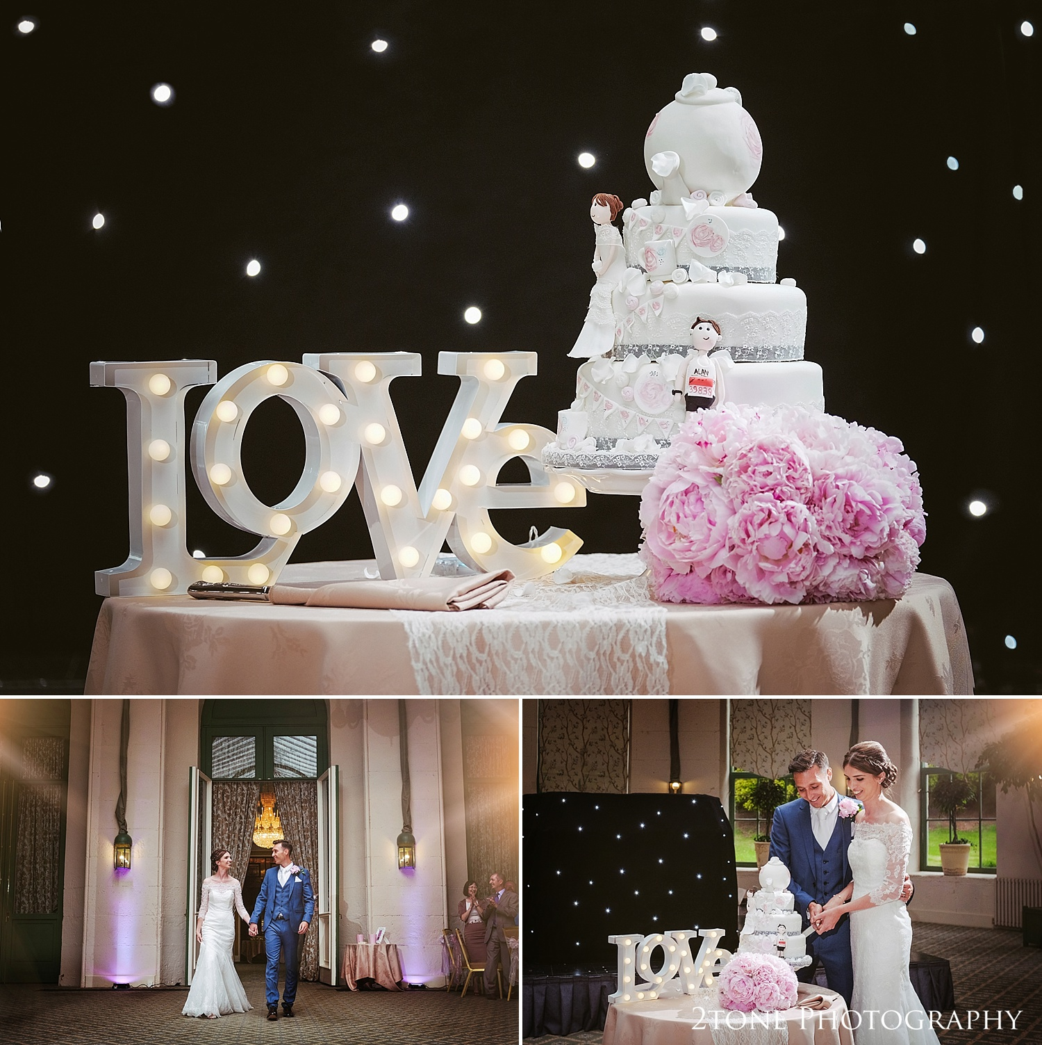 Wedding cake and love letters at Wynyard Hall by Durham based wedding photographers www.2tonephotography.co.uk