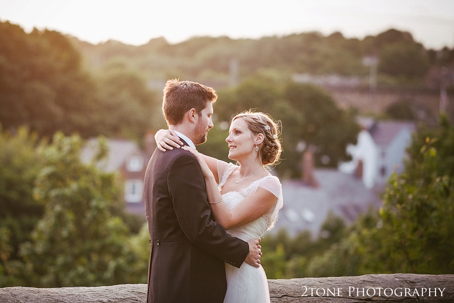 Wedding day sunset at Durham Castle by husband and wife team 2tone Photography www.2tonephotography.co.uk