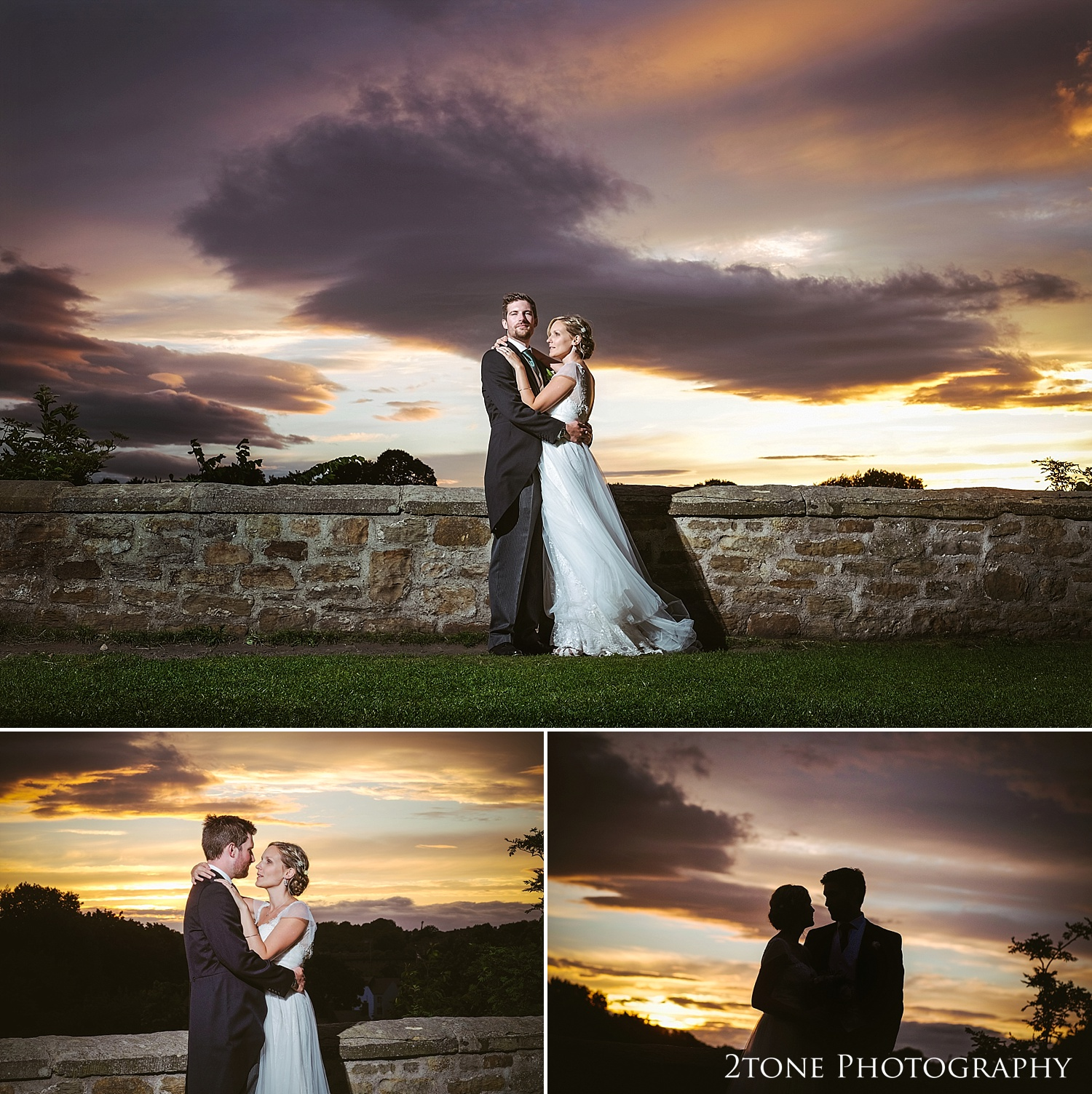 Sunset wedding photography at Durham Castle by husband and wife team 2tone Photography www.2tonephotography.co.uk