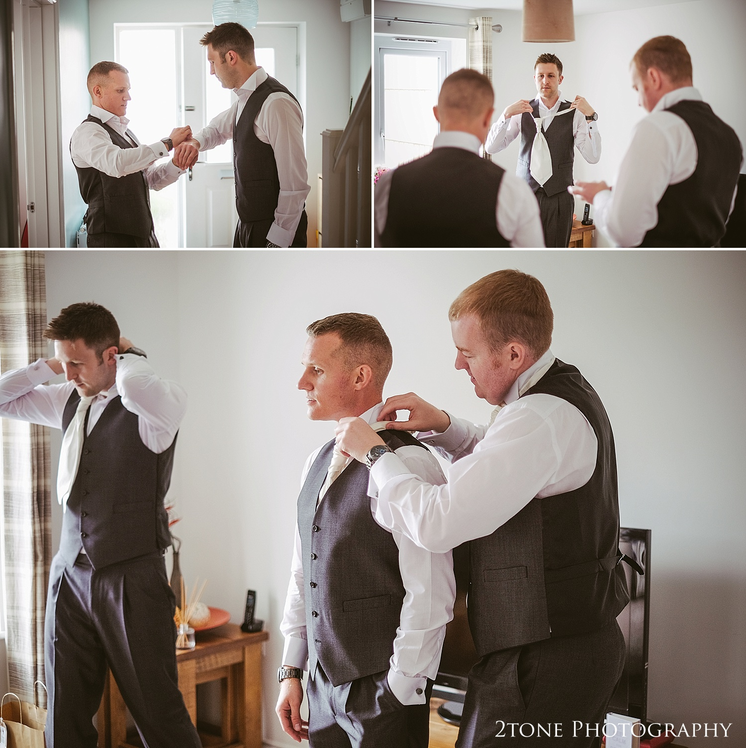 The groom getting ready for his wedding at Jesmond Dene House in Newcastle by 2tone Photography www.2tonephotography.co.uk