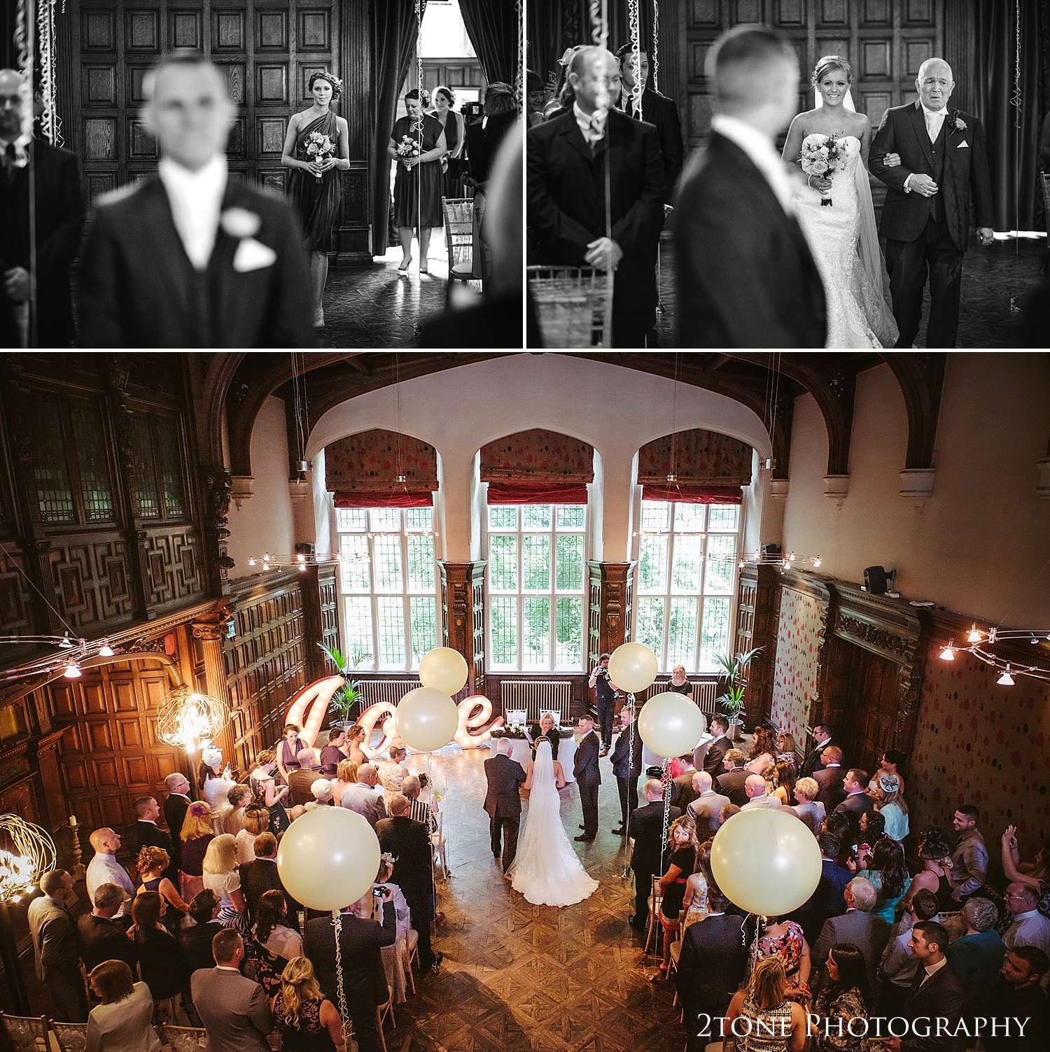 Wedding ceremony with balloon decorations at Jesmond Dene House in Newcastle by 2tone Photography www.2tonephotography.co.uk