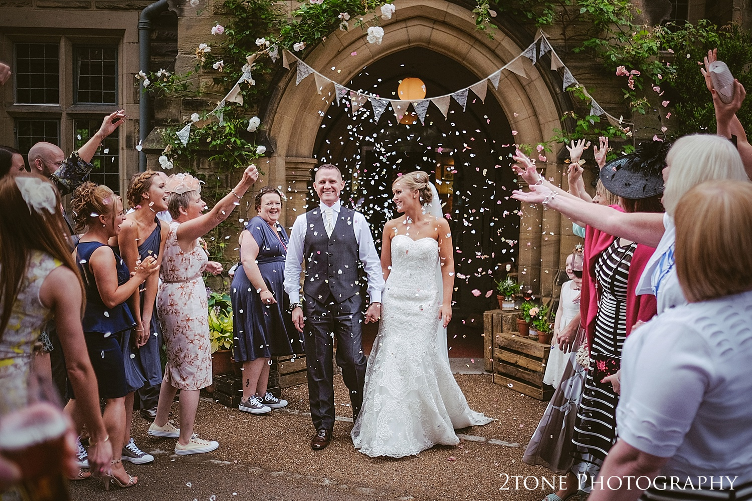 Wedding confetti at Jesmond Dene House in Newcastle by 2tone Photography www.2tonephotography.co.uk