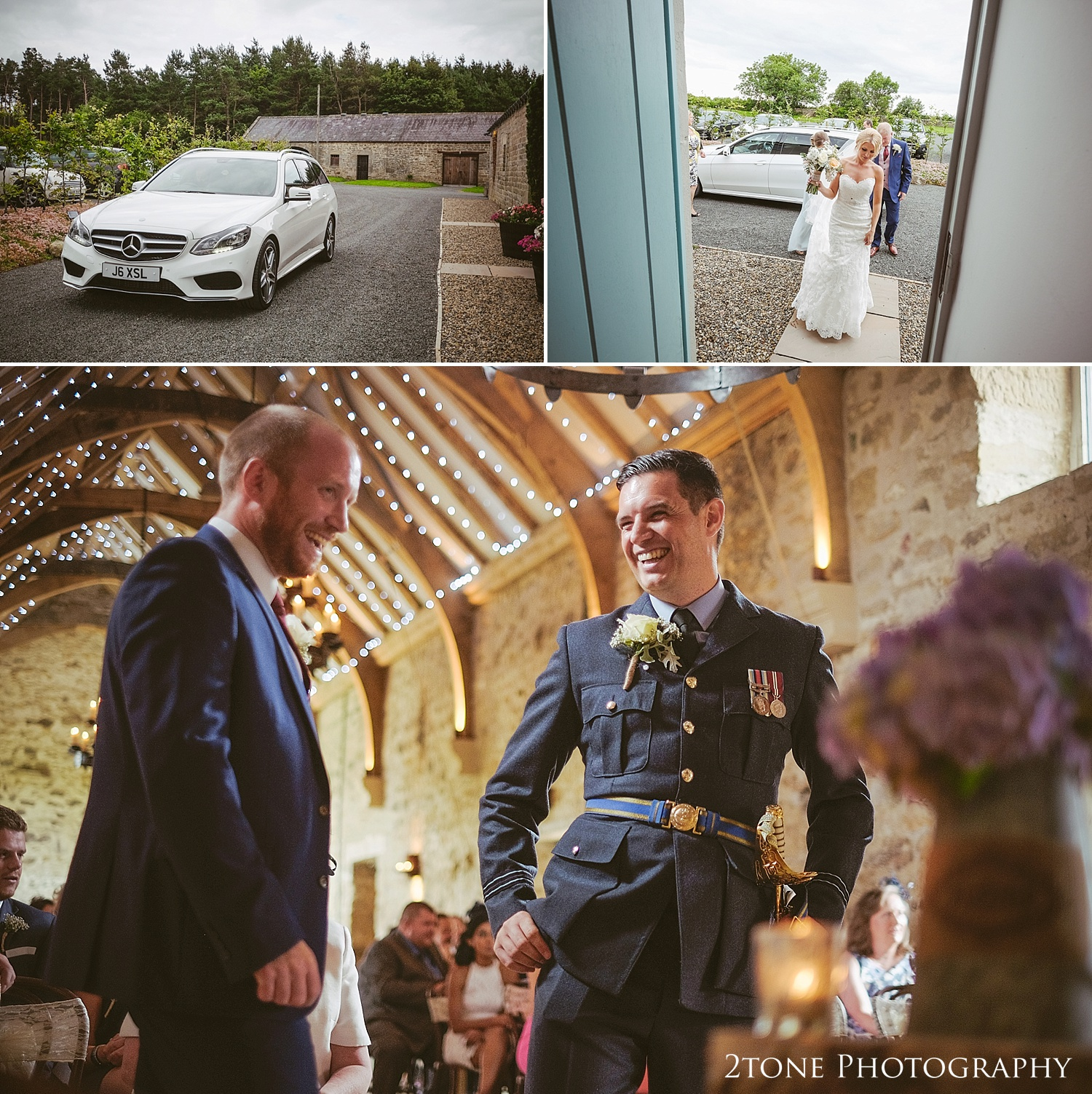 Groom waiting for the bride at Healey Barn wedding venue by wedding photography team 2tone Photography www.2tonephotography.co.uk