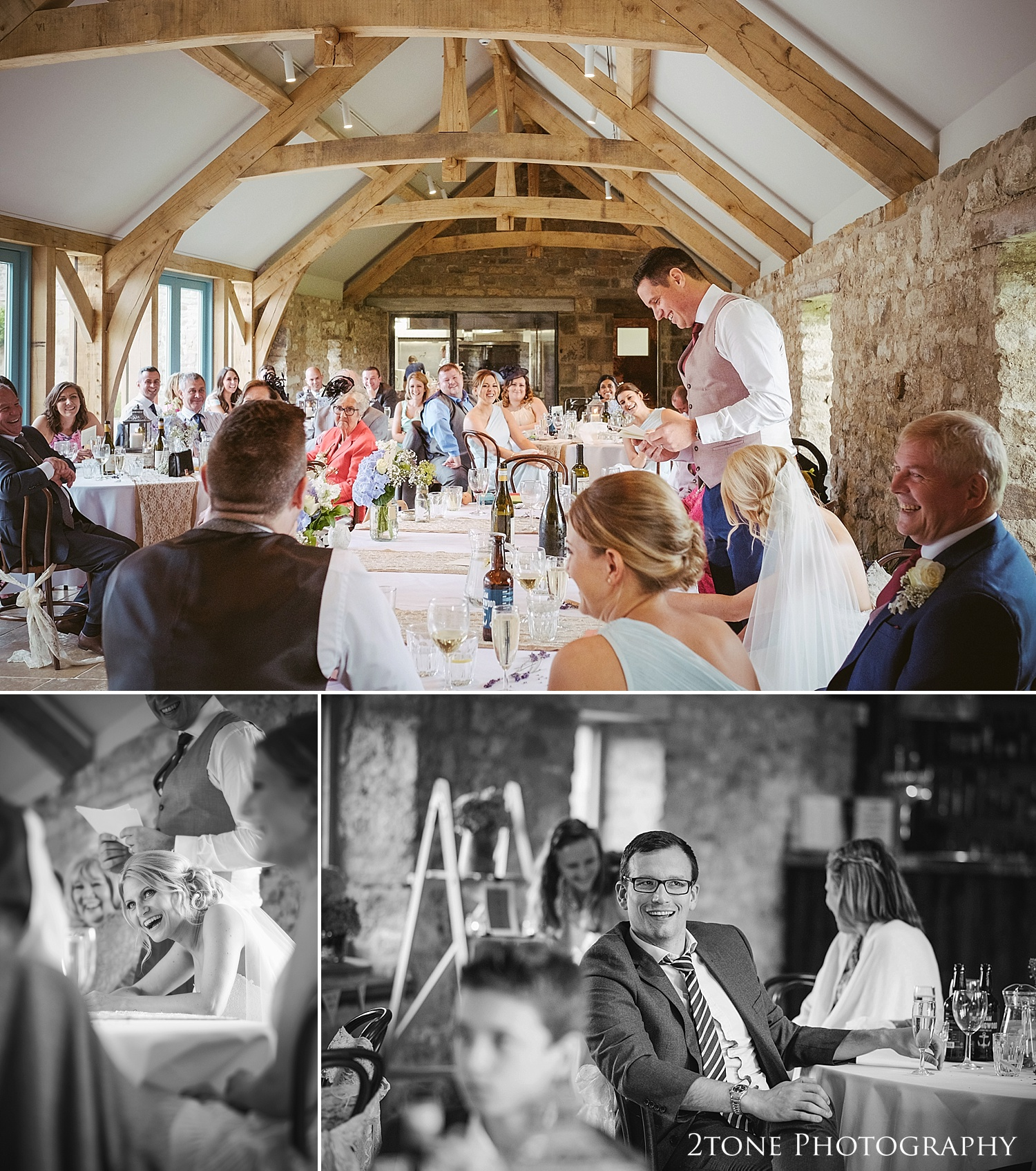 Wedding day speeches at Healey Barn by wedding photography team, 2tone Photography www.2tonephotography.co.uk