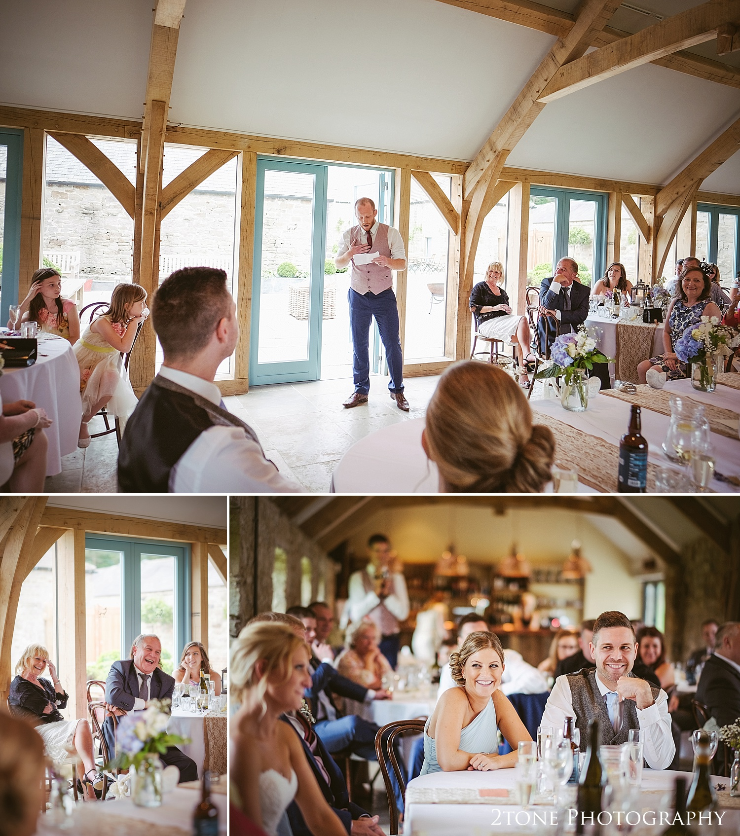 The best man's speech at Healey Barn by wedding photography team, 2tone Photography www.2tonephotography.co.uk