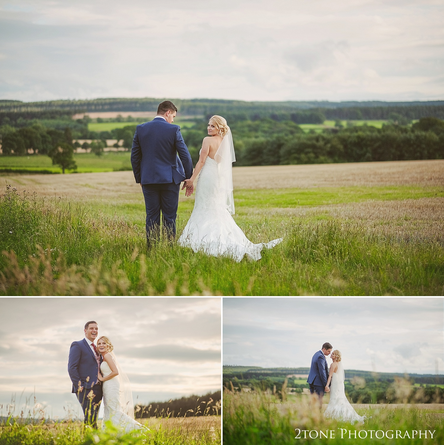Bride and groom in a country field at Healey Barn by wedding photography team, 2tone Photography www.2tonephotography.co.uk
