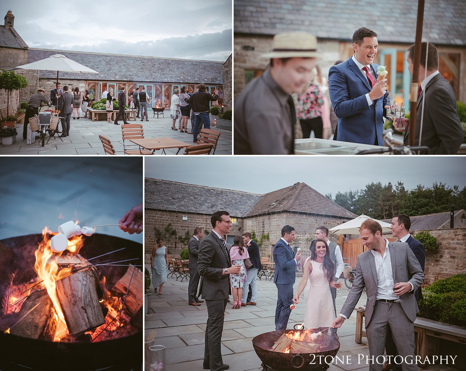 The fire pits at Healey Barn by wedding photography team, 2tone Photography www.2tonephotography.co.uk