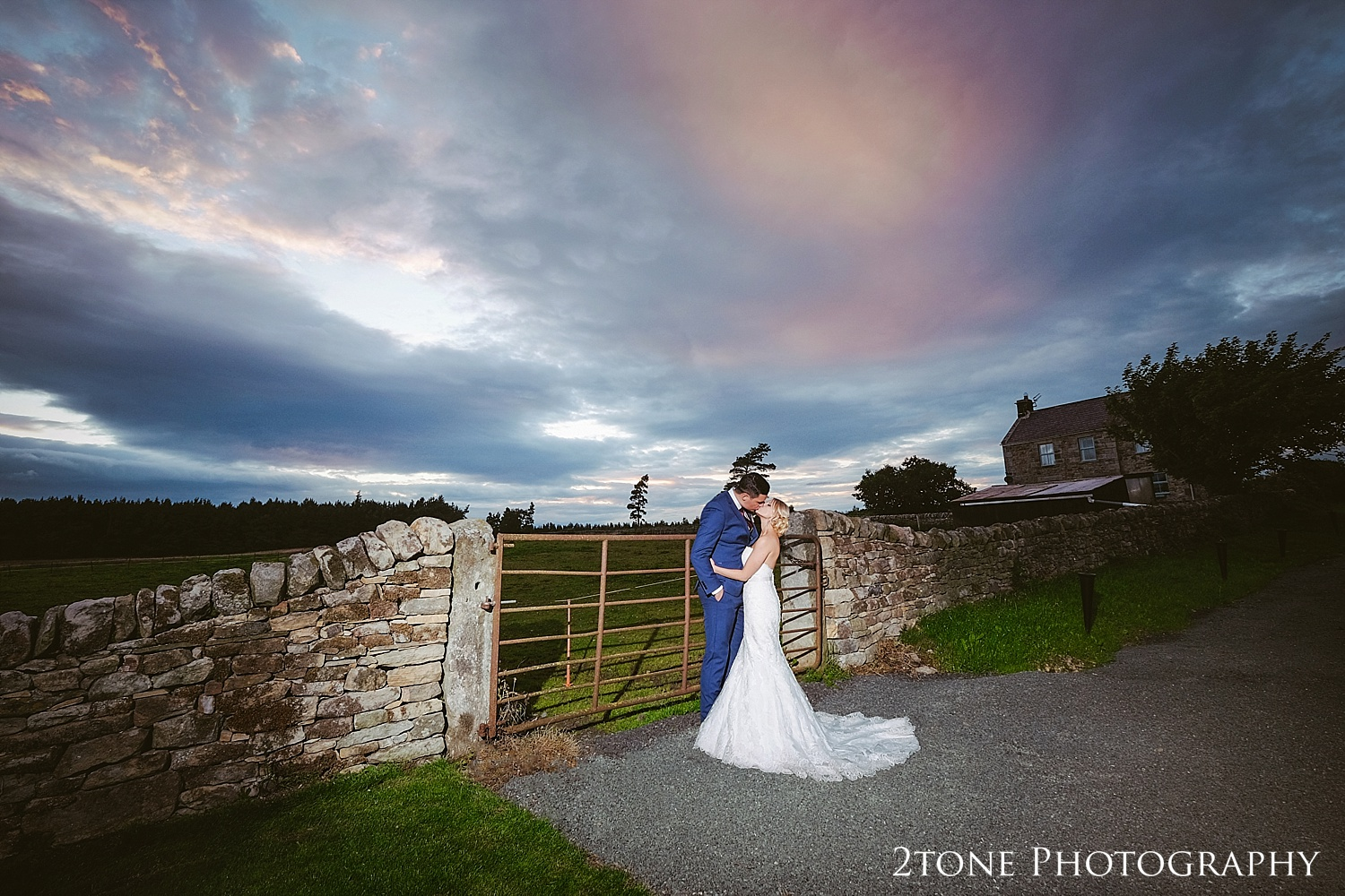 Sunset portrait at Healey Barn by wedding photography team, 2tone Photography www.2tonephotography.co.uk