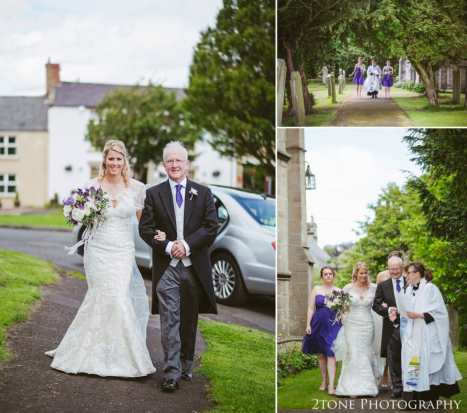 The bride and her father arriving to Stamfordham Church.  Wedding photography at Matfen Hall by wedding photographer www.2tonephotography.co.uk