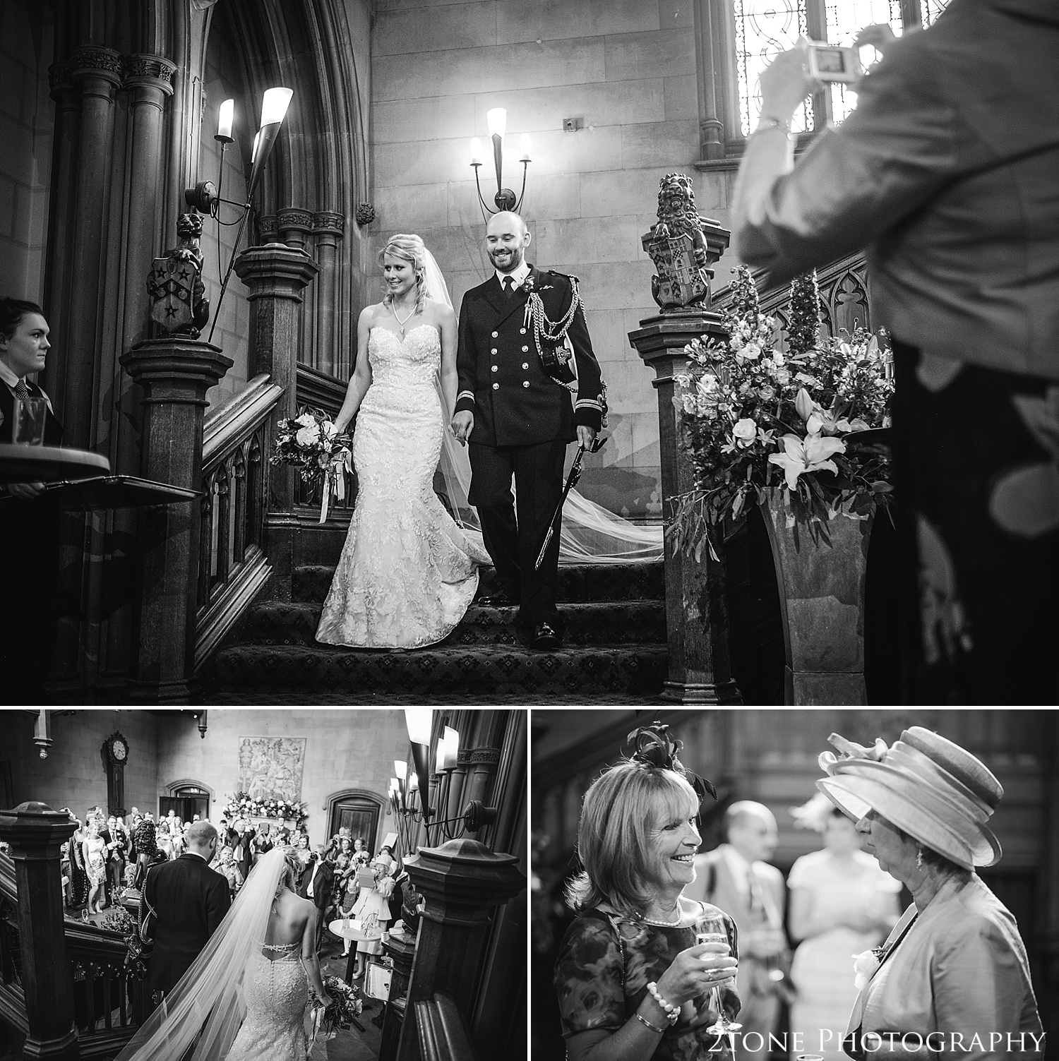 The Bride and Groom are announced into the Great Hall.  Wedding photography at Matfen Hall by wedding photographer www.2tonephotography.co.uk