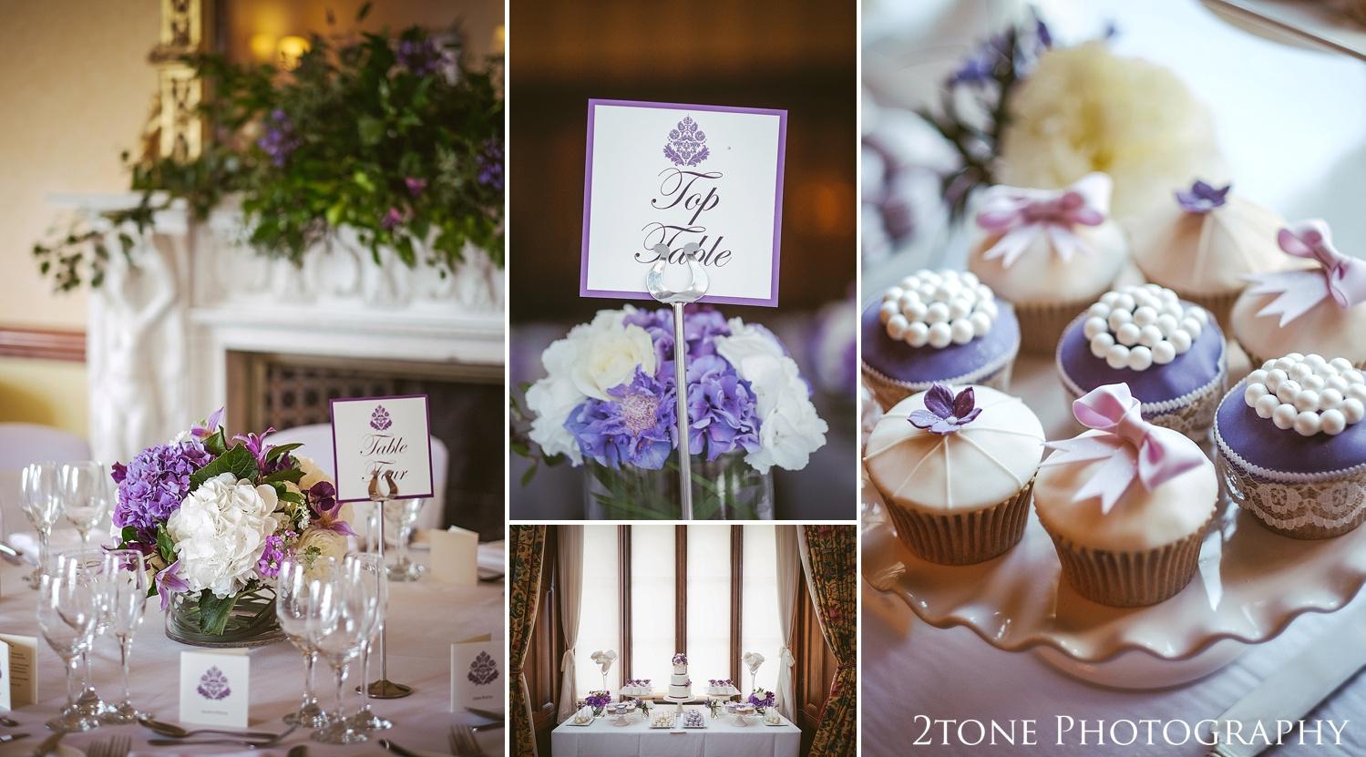 Wedding table details.  Wedding photography at Matfen Hall by wedding photographer www.2tonephotography.co.uk
