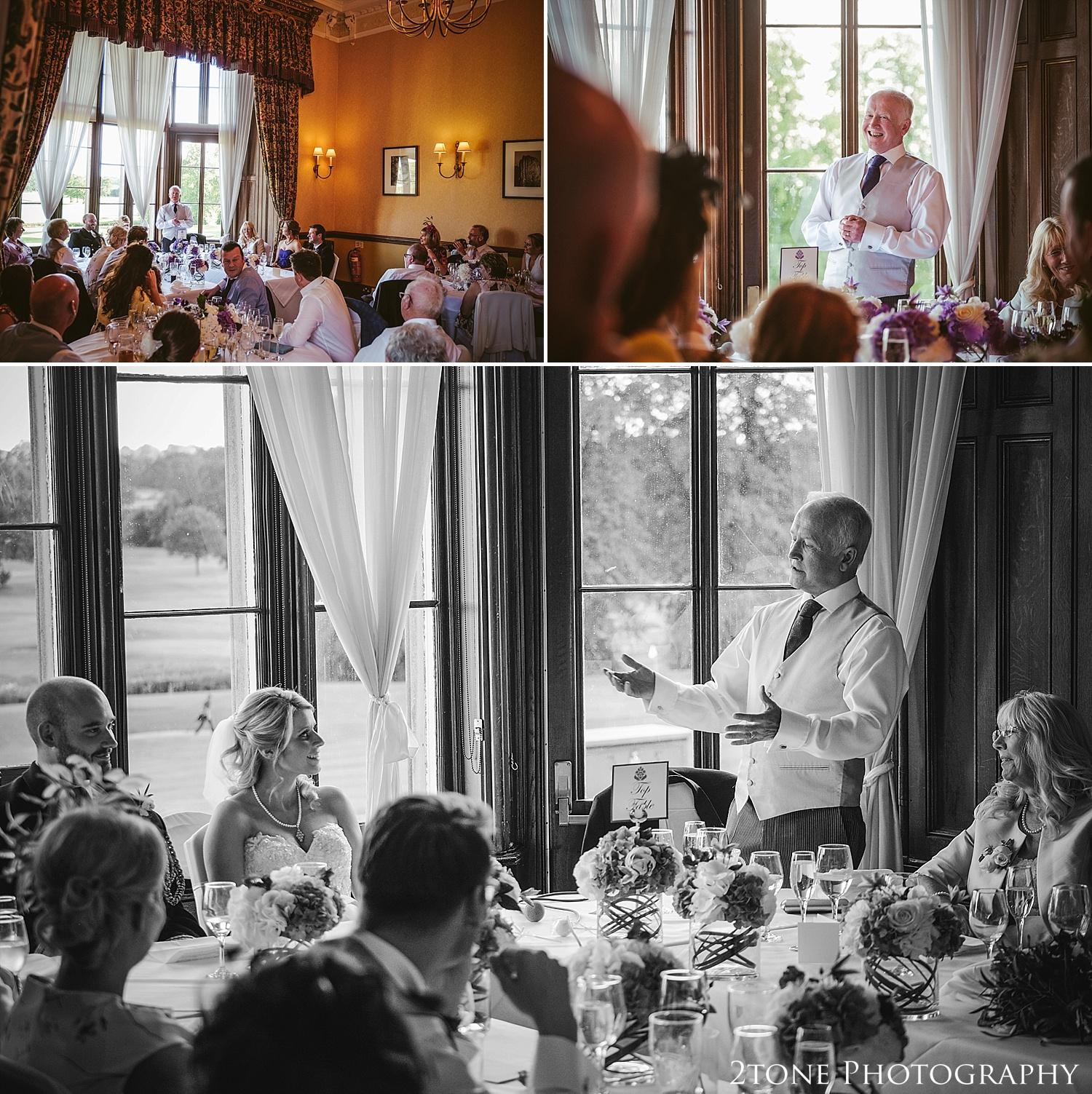 Wedding speeches.  Wedding photography at Matfen Hall by wedding photographer www.2tonephotography.co.uk
