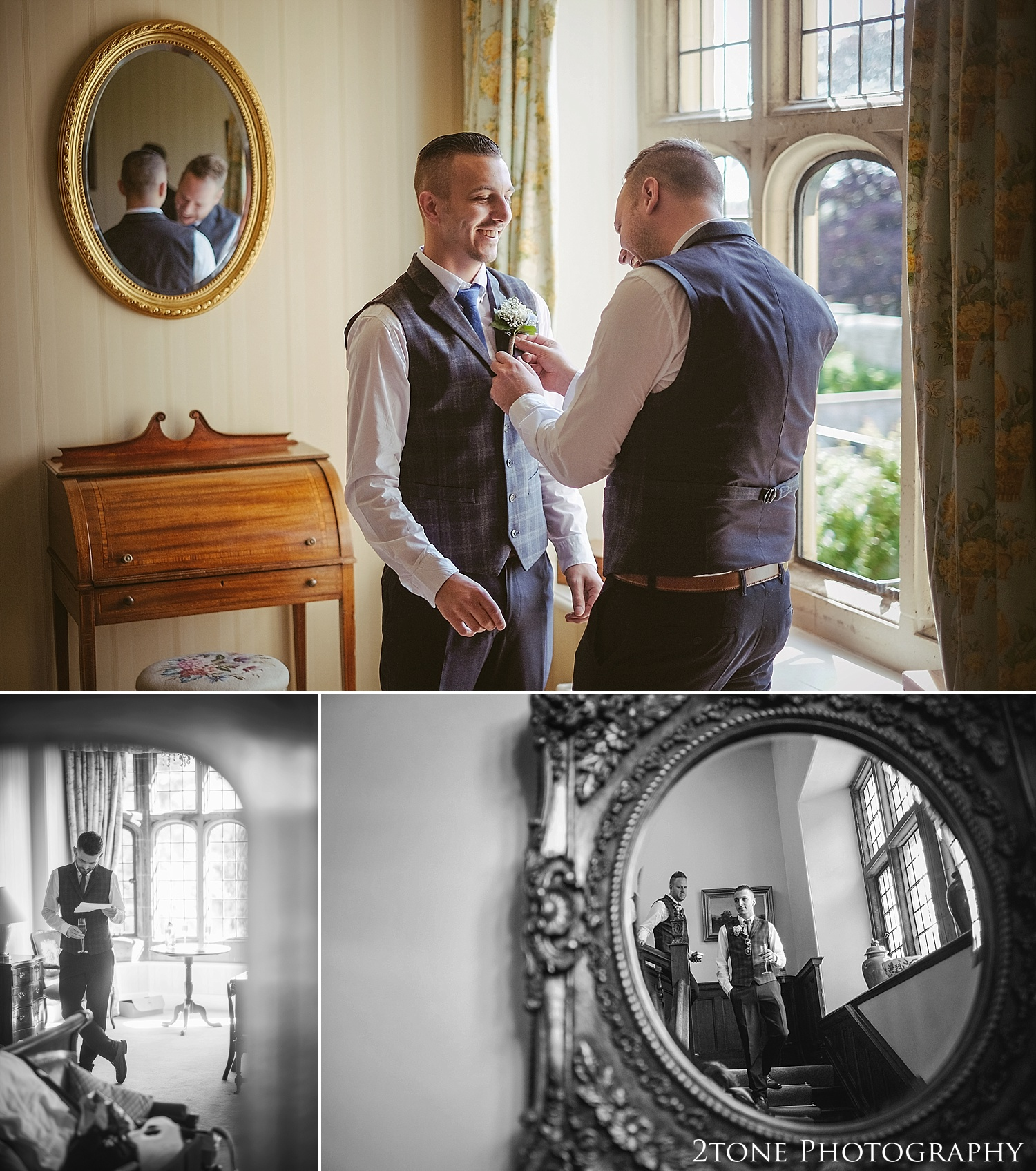 Groom getting ready.  Wedding photography at Guyzance Hall by wedding photographers www.2tonephotography.co.uk