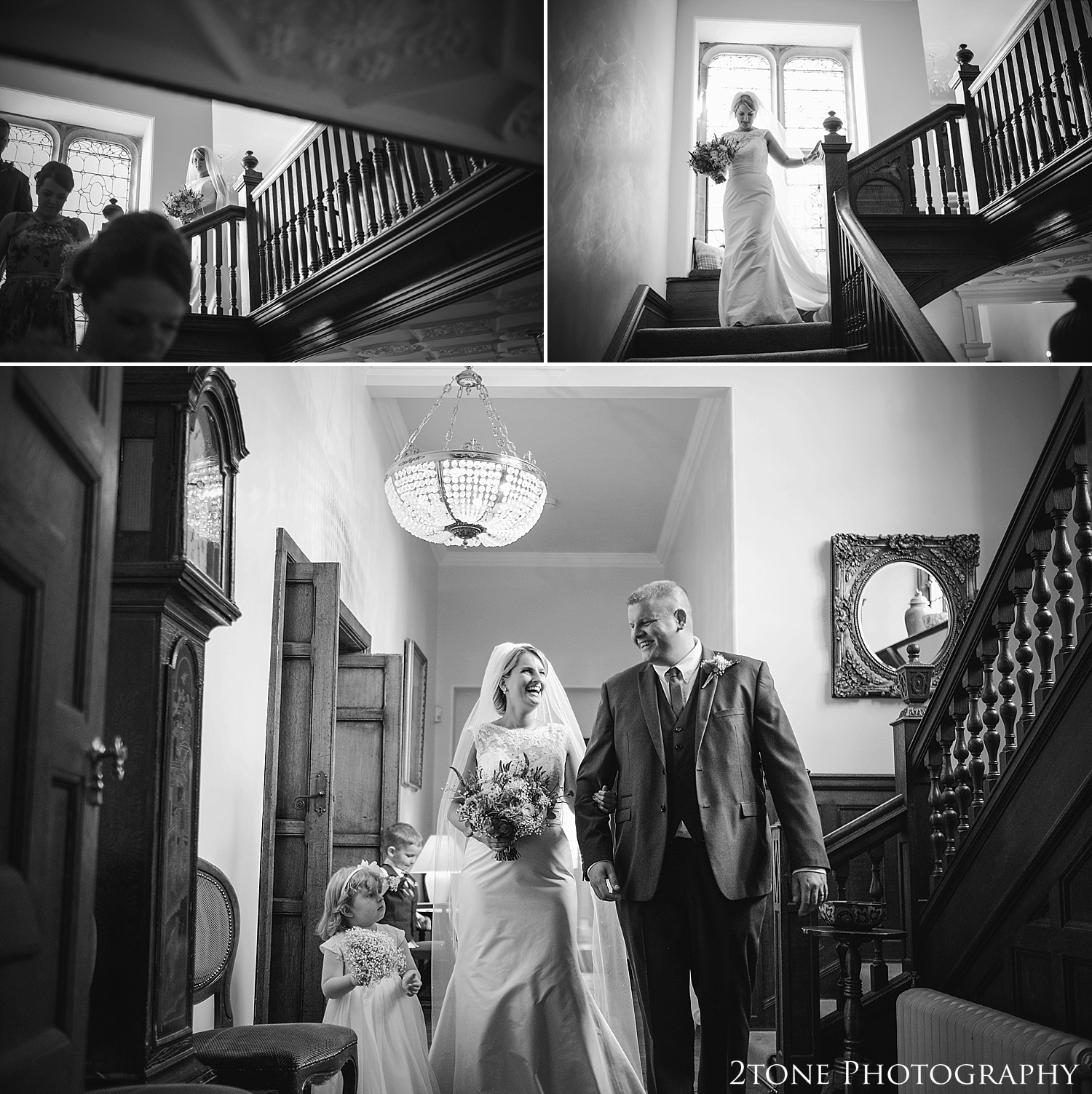 The bride and her brother.  Wedding photography at Guyzance Hall by wedding photographers www.2tonephotography.co.uk
