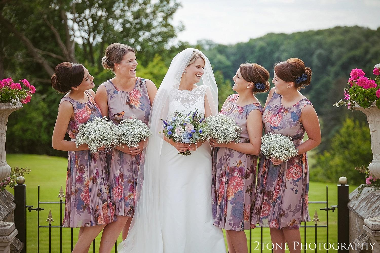 Colourful bridesmaids.  Wedding photography at Guyzance Hall by wedding photographers www.2tonephotography.co.uk