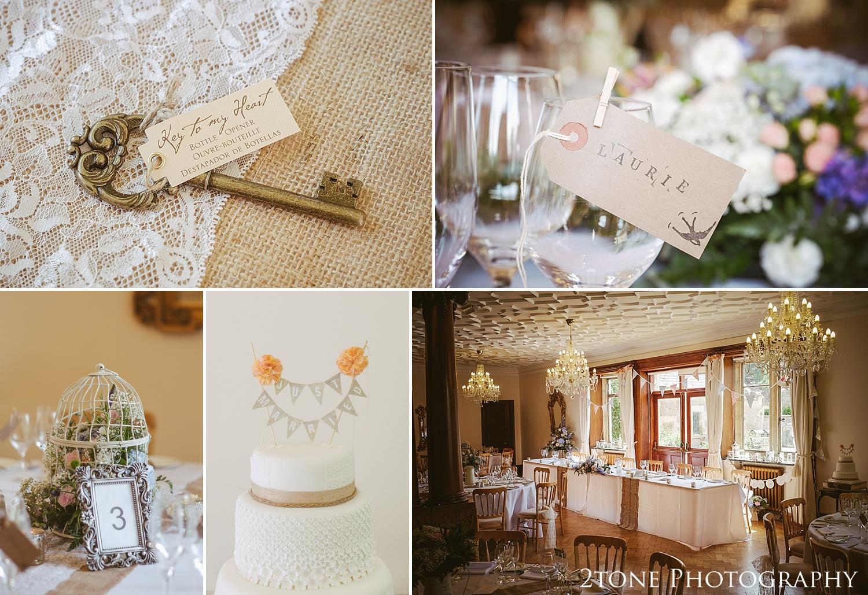 Wedding table details.  Wedding photography at Guyzance Hall by wedding photographers www.2tonephotography.co.uk