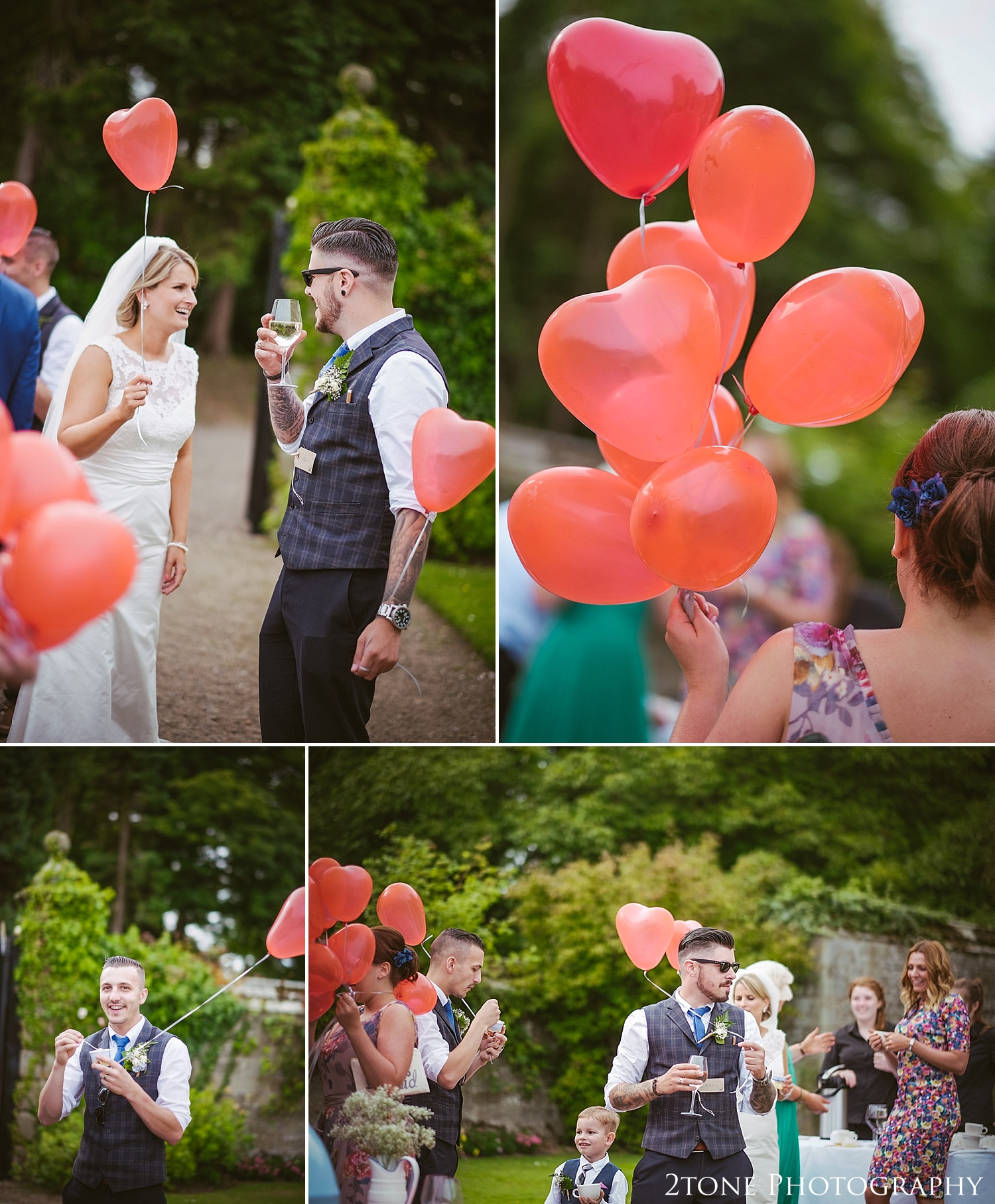 Wedding balloons.  Wedding photography at Guyzance Hall by wedding photographers www.2tonephotography.co.uk