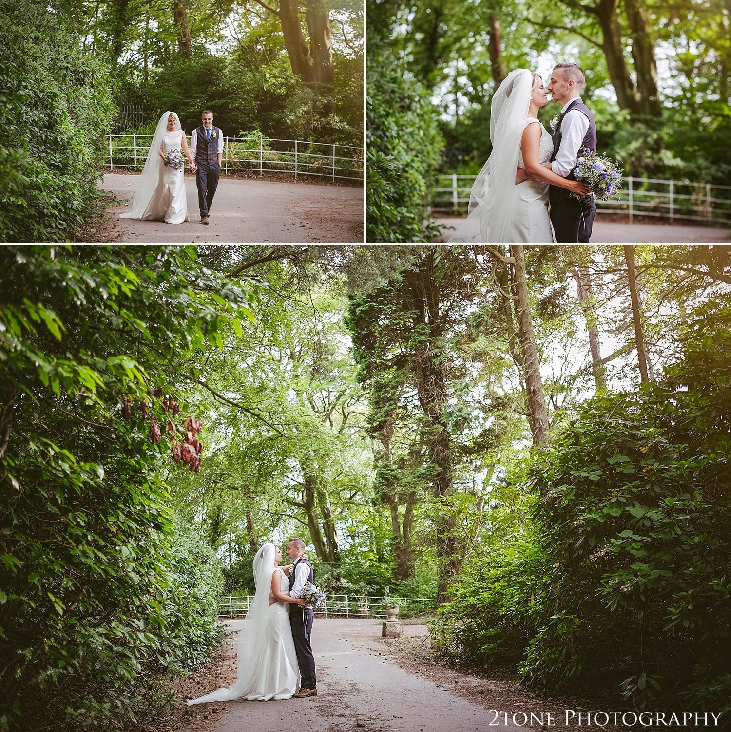 Wedding photographs in the woods.  Wedding photography at Guyzance Hall by wedding photographers www.2tonephotography.co.uk