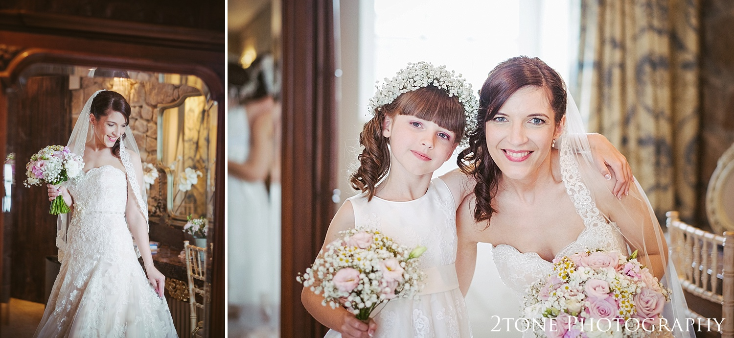 The bride and her daughter at Newton Hall by wedding photographers based in Durham.  www.2tonephotography.co.uk