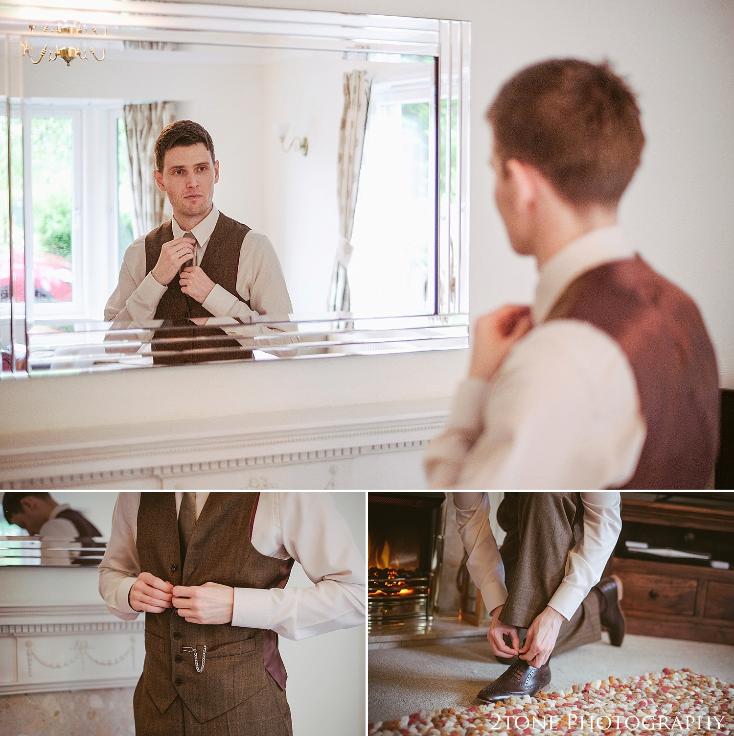The groom getting ready at Newton Hall by wedding photographers based in Durham.  www.2tonephotography.co.uk