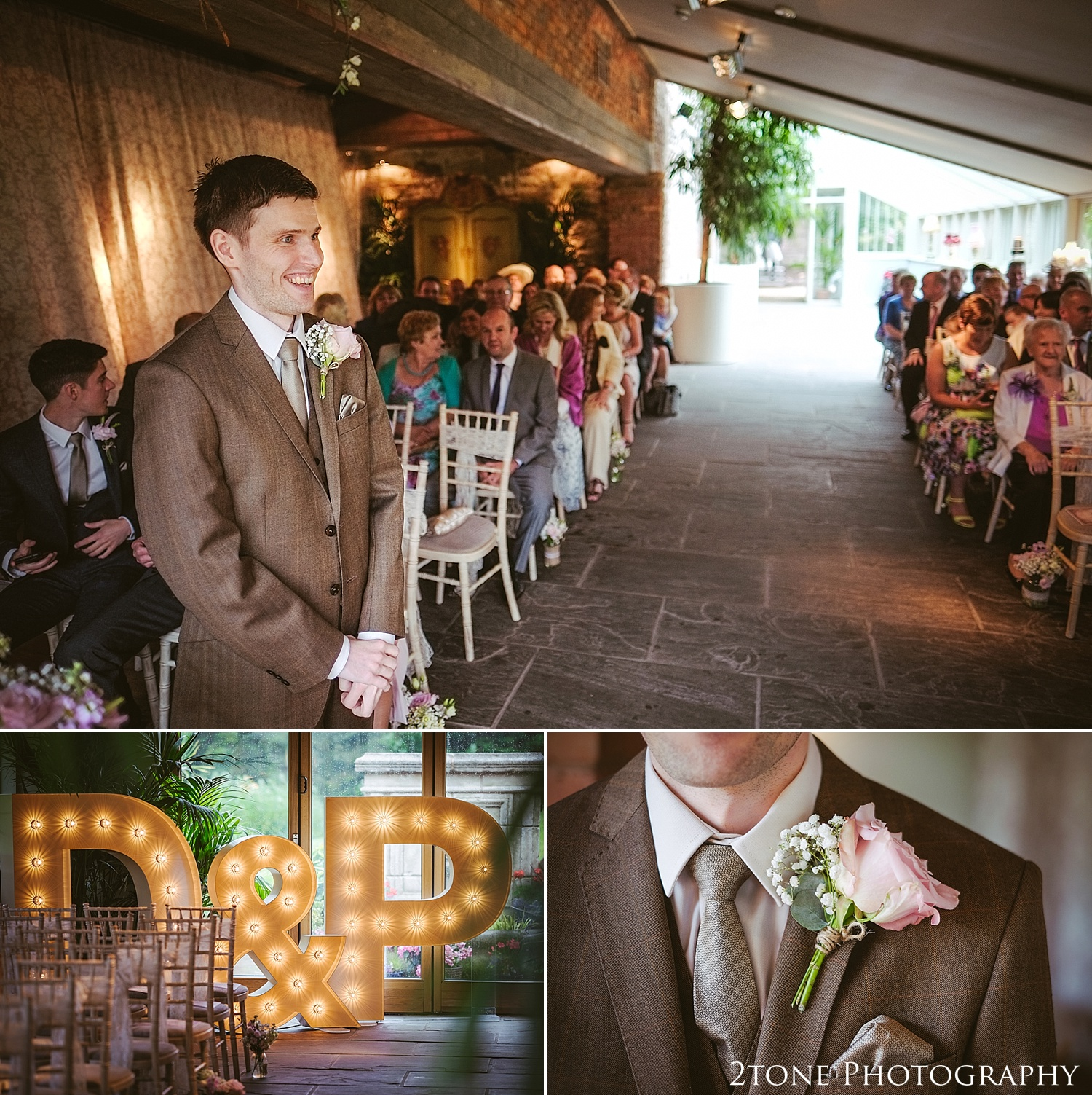 A wedding ceremony in the Glass House in Newton Hall by wedding photographers based in Durham.  www.2tonephotography.co.uk