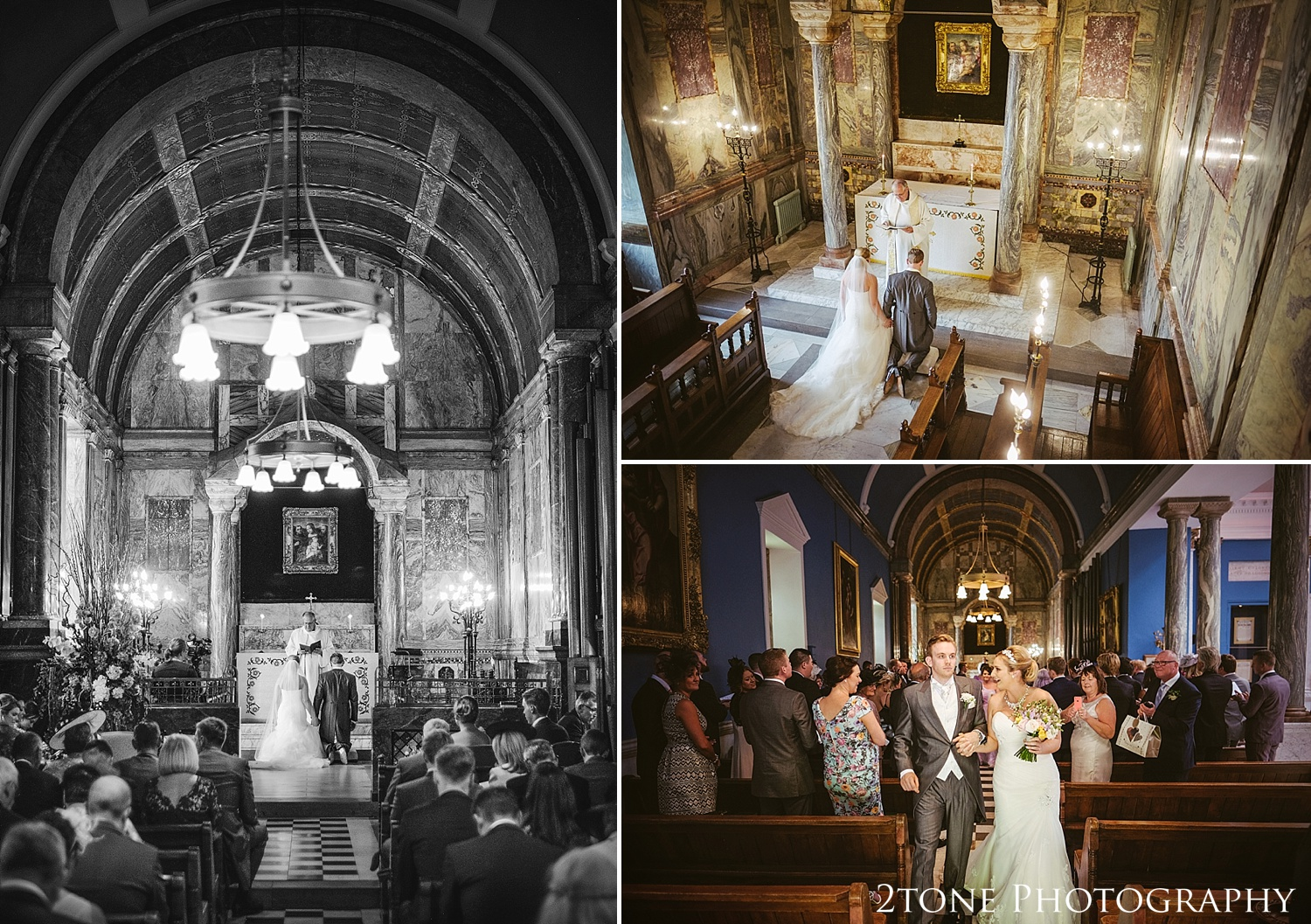 A chapel ceremony at Wynyard Hall.  Wedding photography at Wynyard Hall by husband and wife wedding photographers 2tone Photography www.2tonephotography.co.uk
