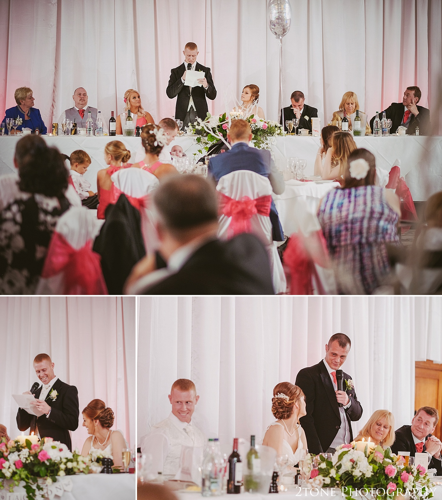 Wedding speeches.  Slaley Hall wedding photography by wedding photographers 2tone Photography.  www.2tonephotography.co.uk